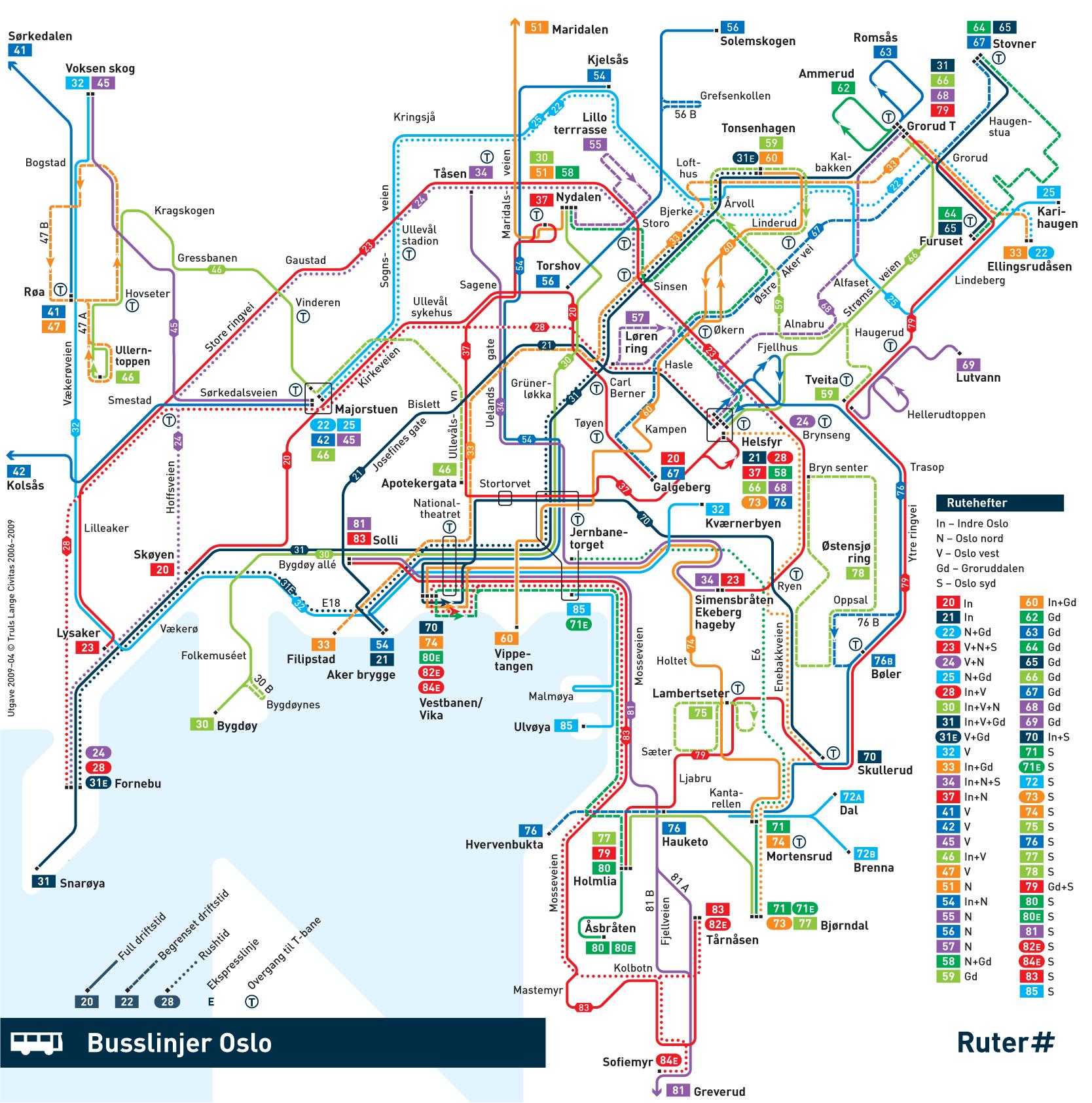 busslinjer oslo kart Oslo Bus Map • Mapsof.net busslinjer oslo kart