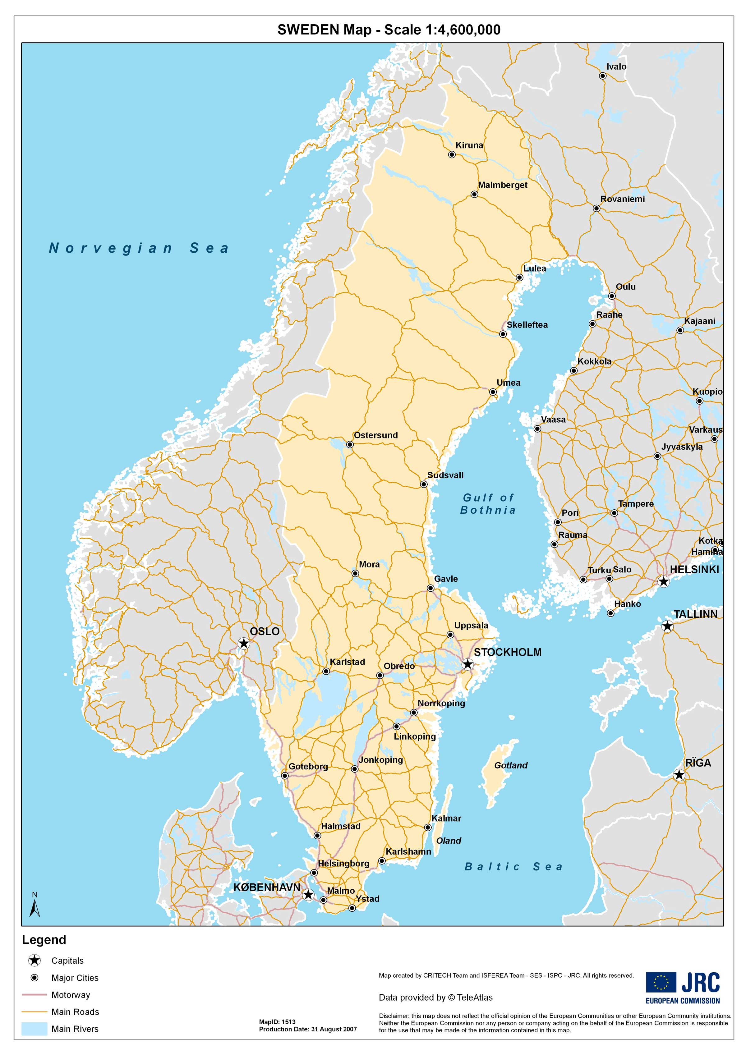 Outline Map Of Sweden Mapsofnet - Sweden big map
