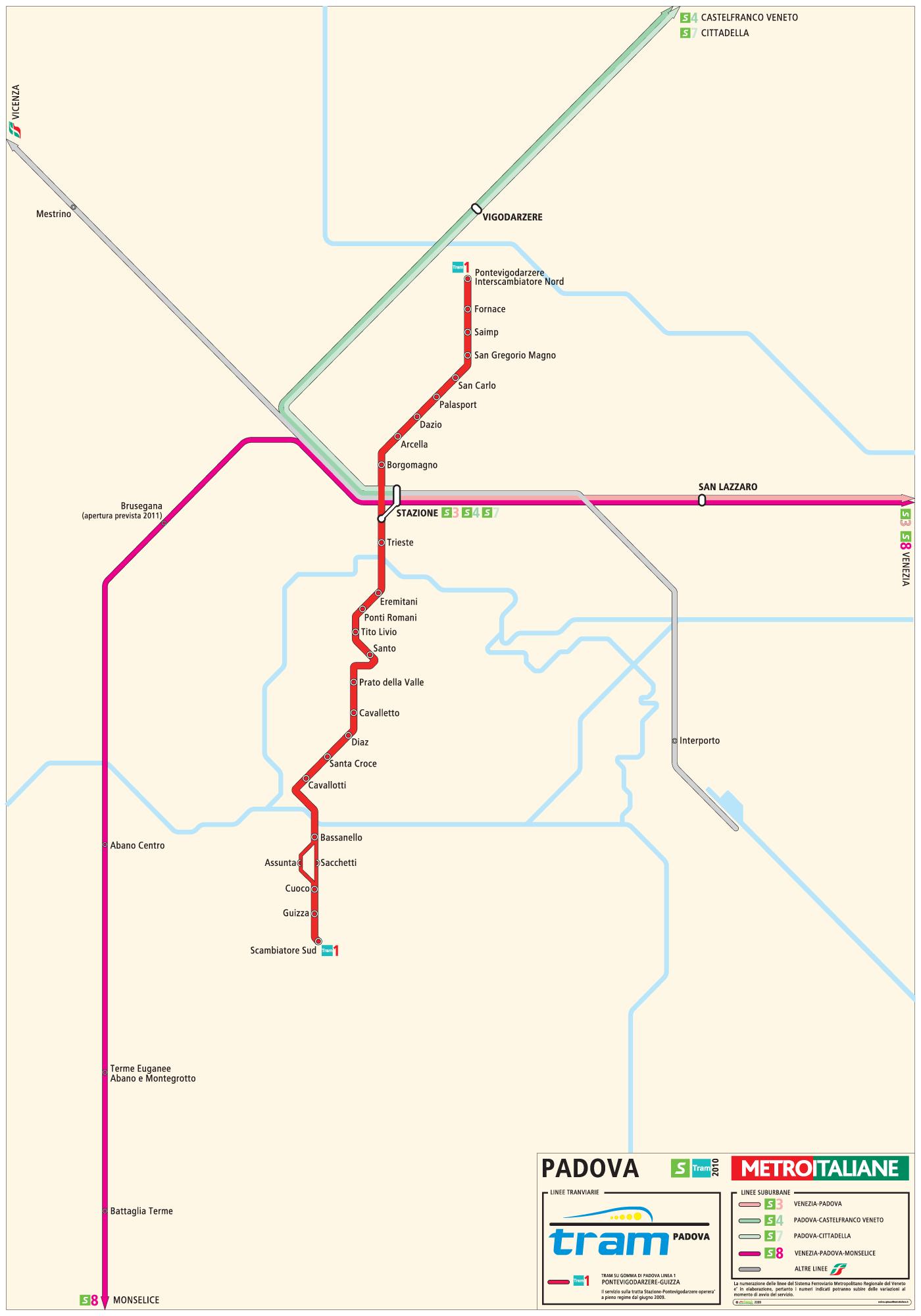 Padova Metro Map large map