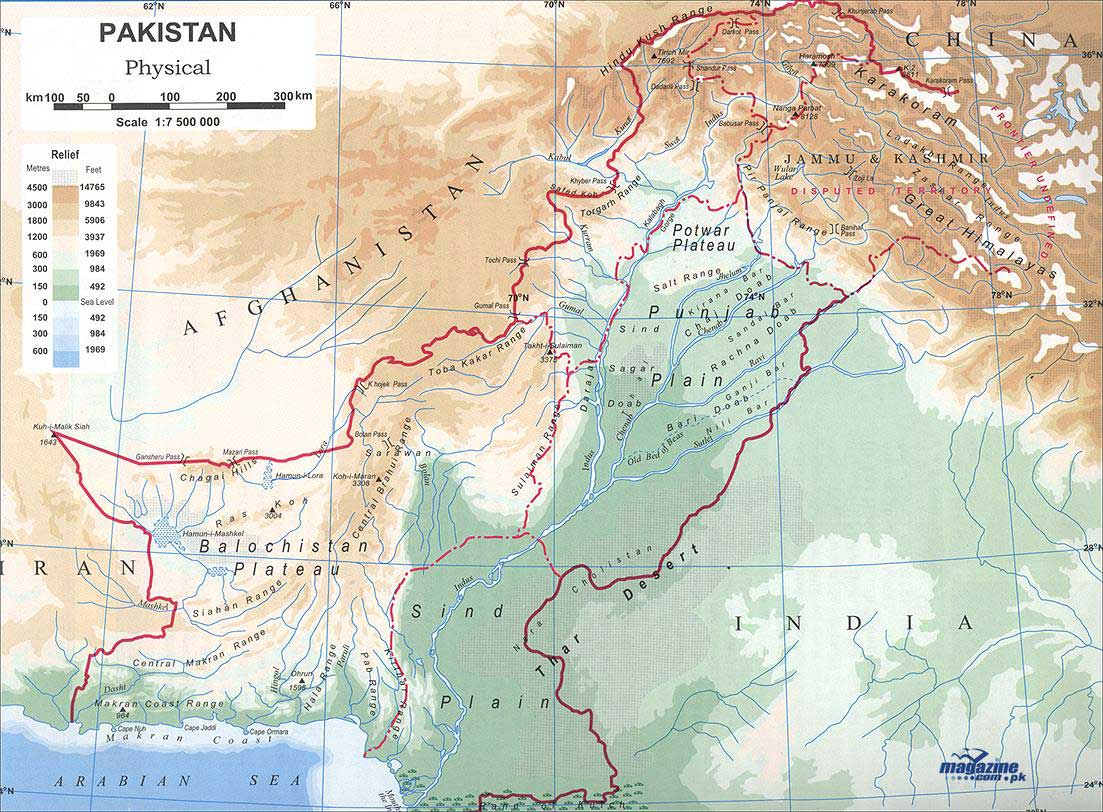 Pakistan Physical large map