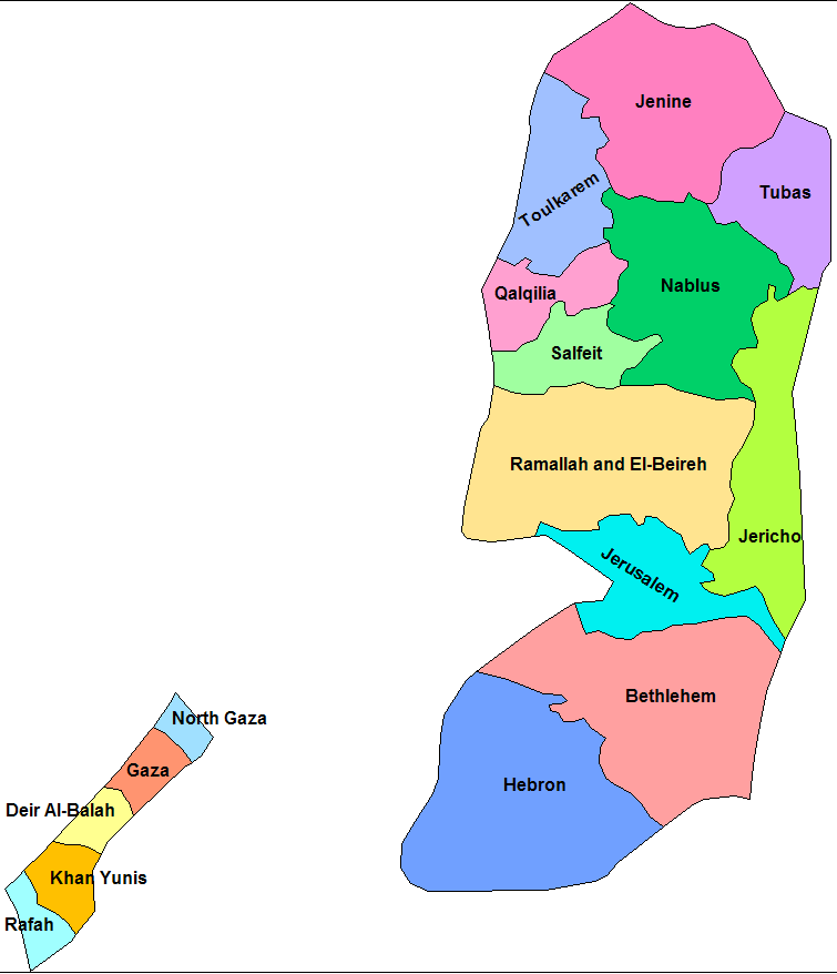 Palestine Districts large map