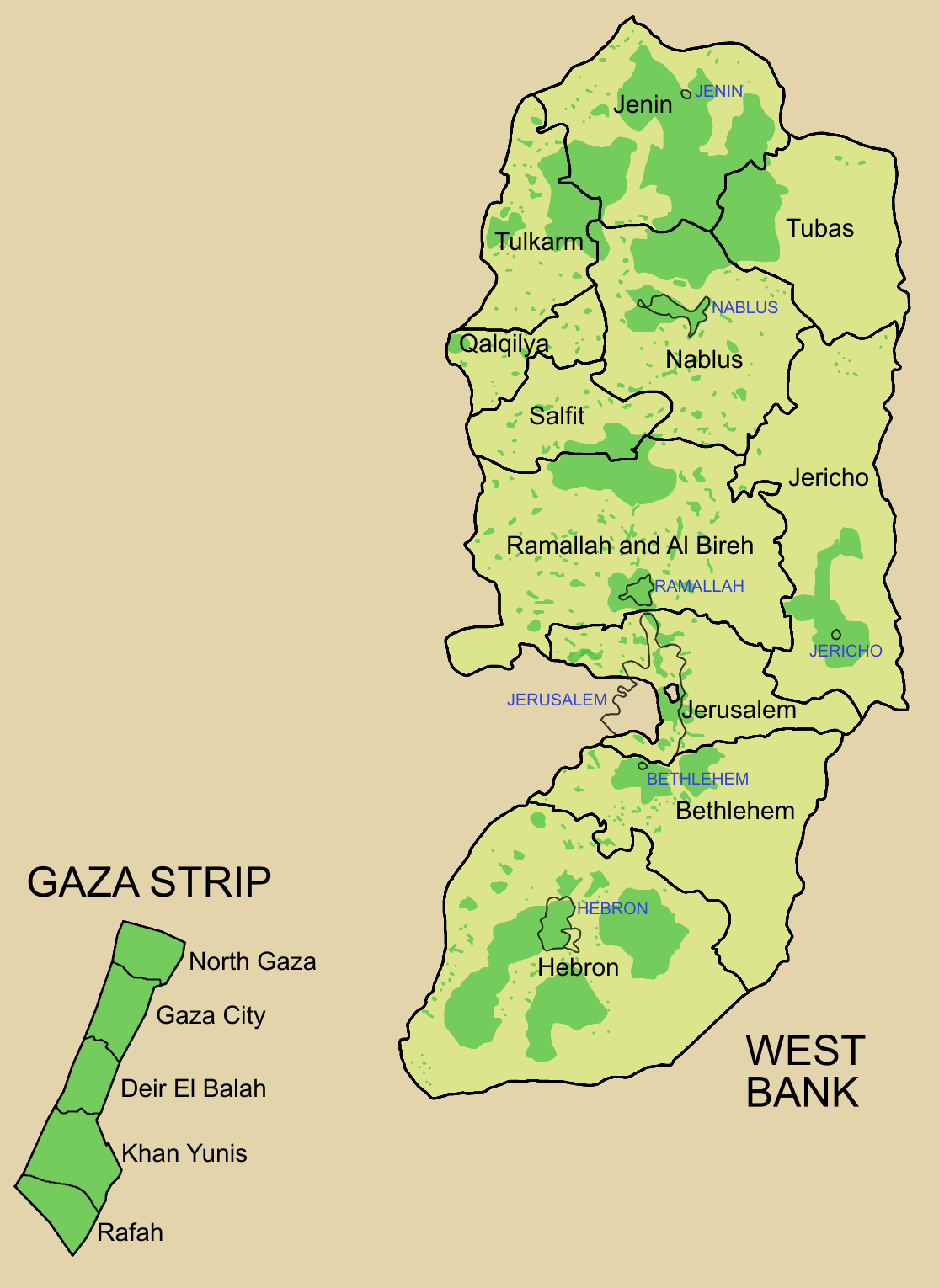 Palestine Election Map large map