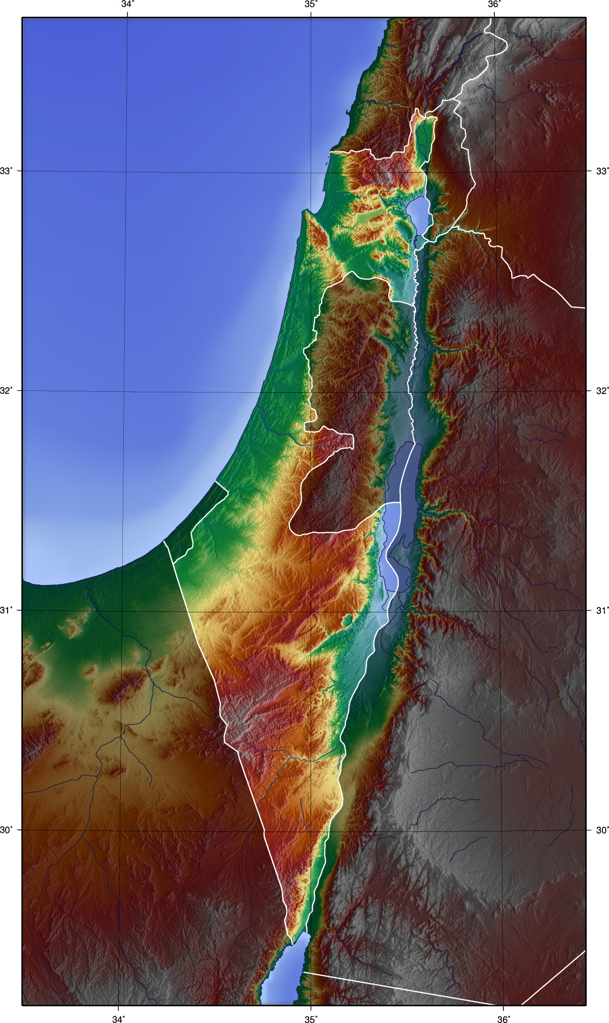 Palestine Topographic Blank Map large map