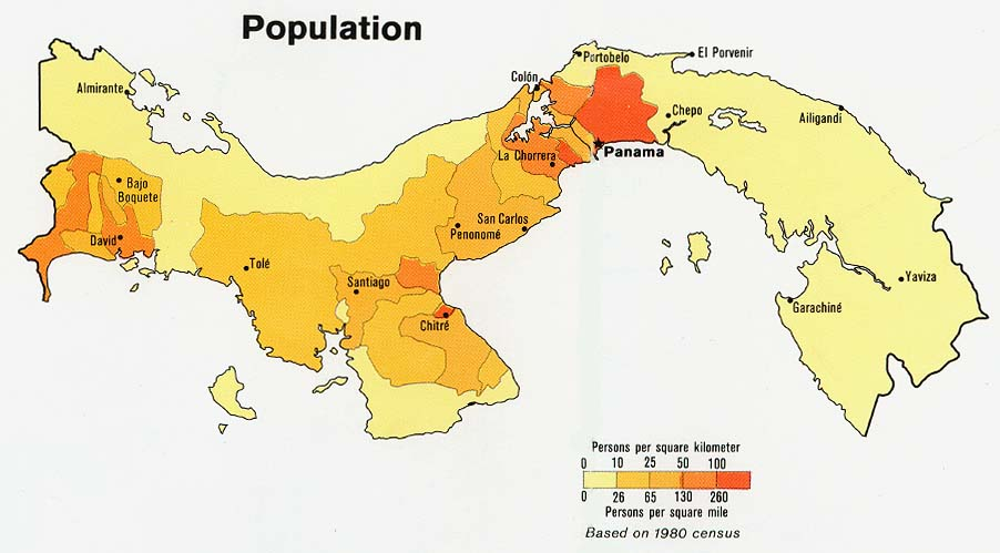 Panama Population Map 1980 large map