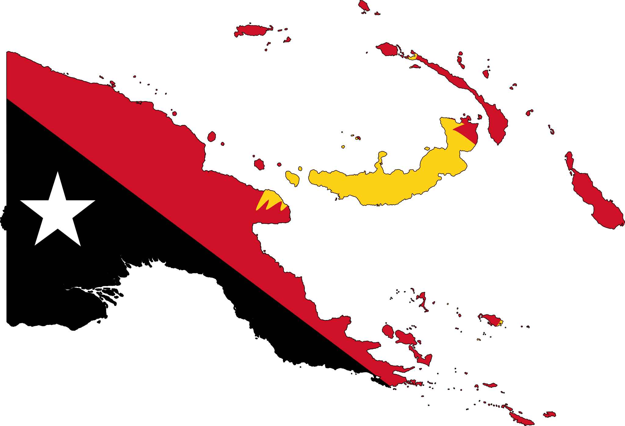 Papua New Guinea Flag Map • Mapsof net