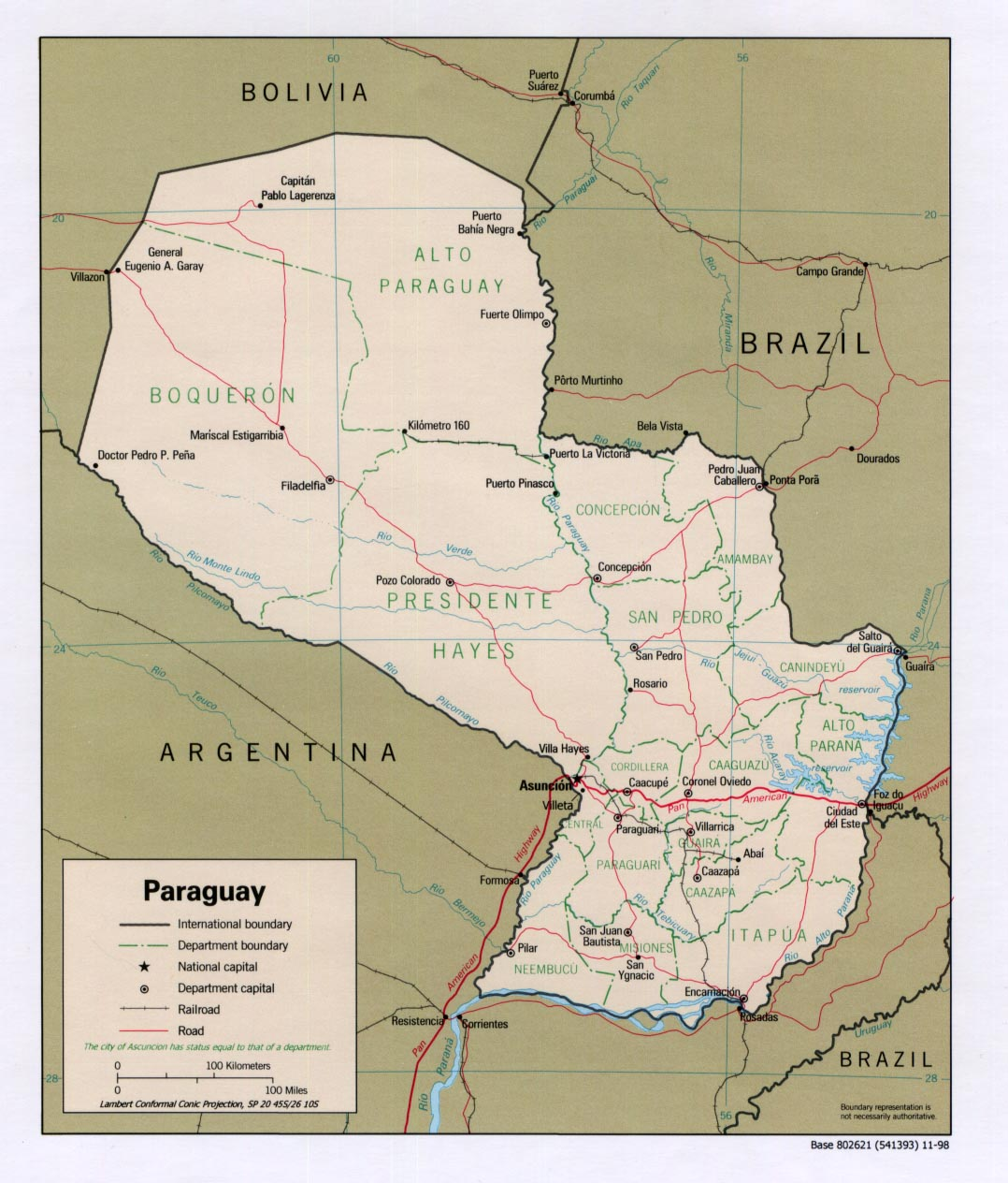 Paraguay Political Map 1998 large map
