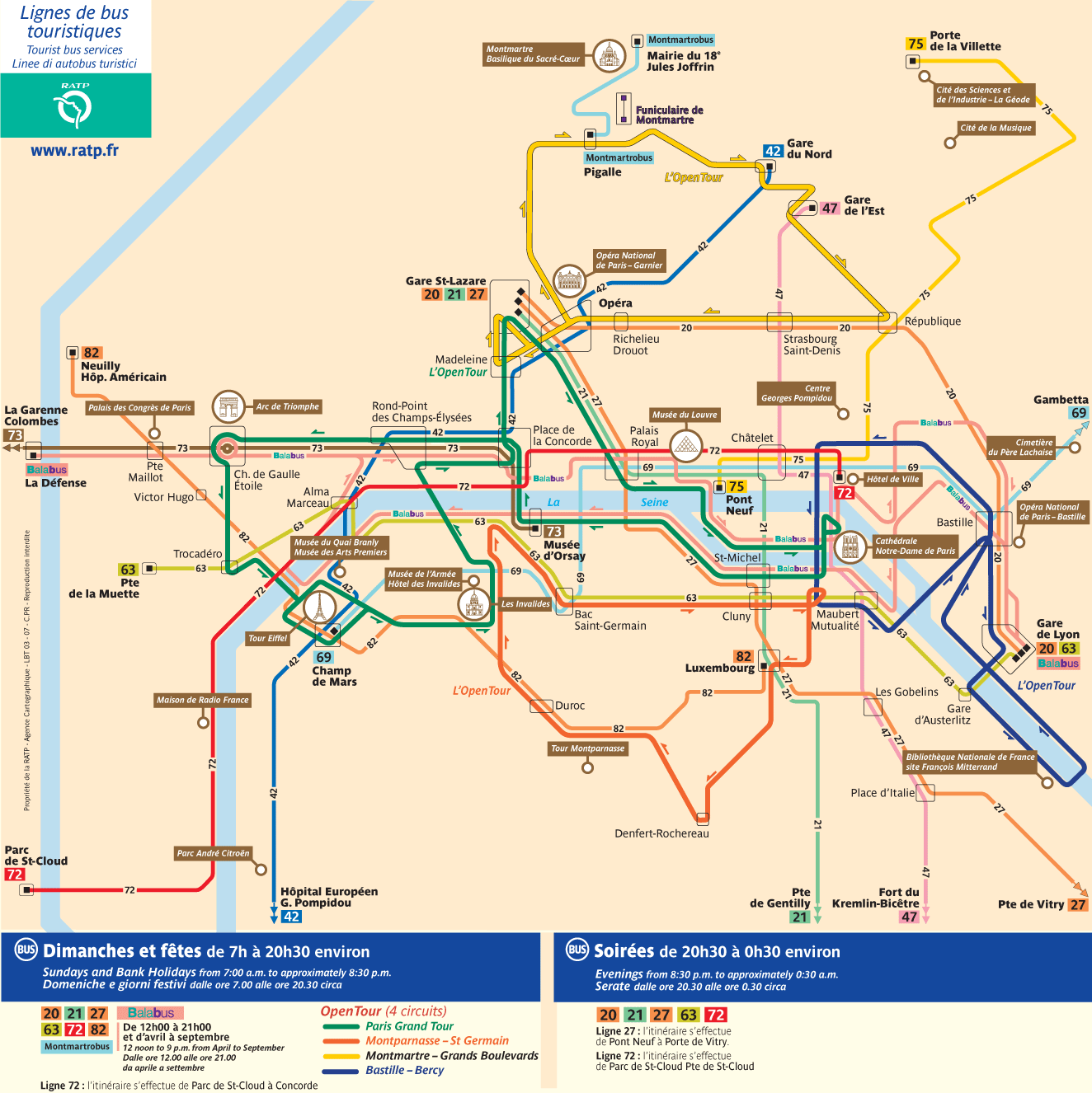 Paris Tourist Bus Map large map