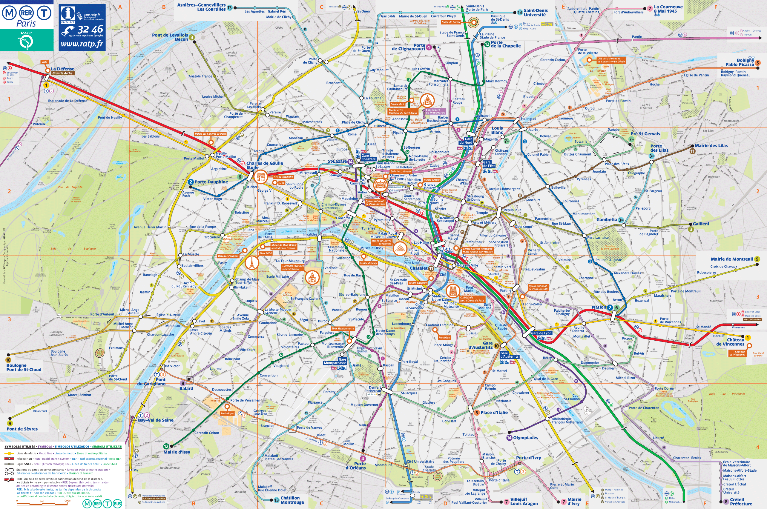 paris tourist transport map paris maps