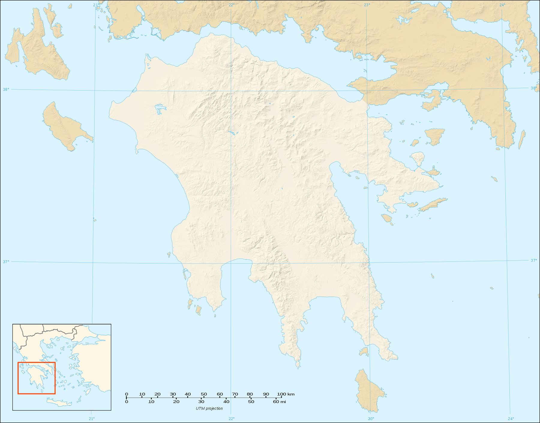 Peloponnese Map Shaded Relief Blank large map