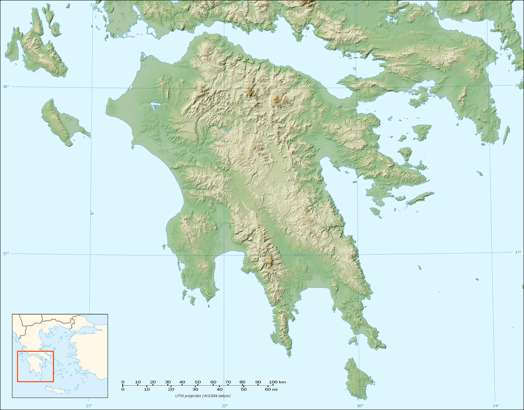 Peloponnese Relief Map Blank large map