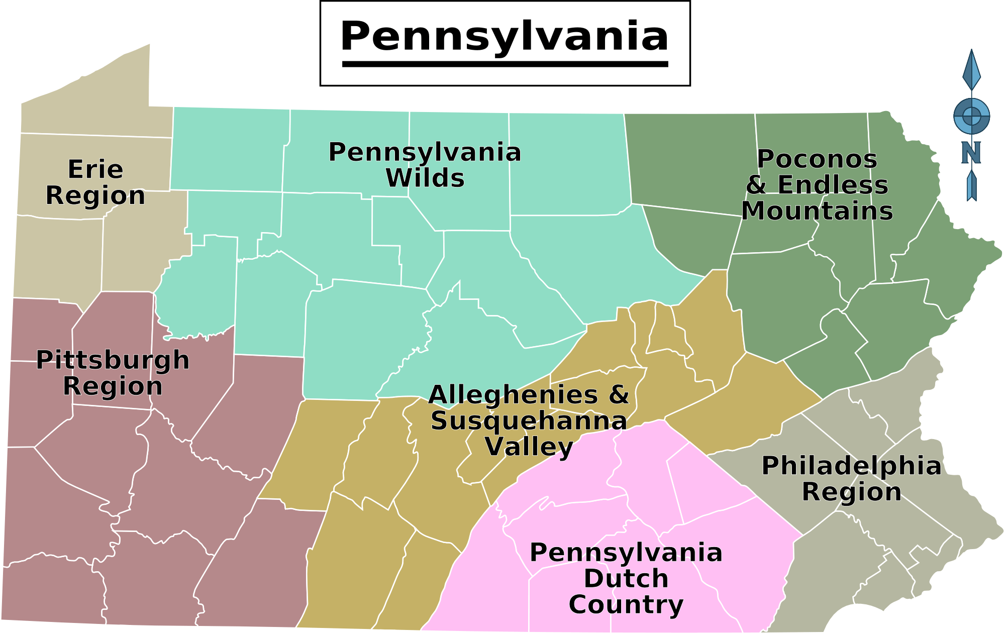 Pennsylvania Regions Map  Mapsofnet