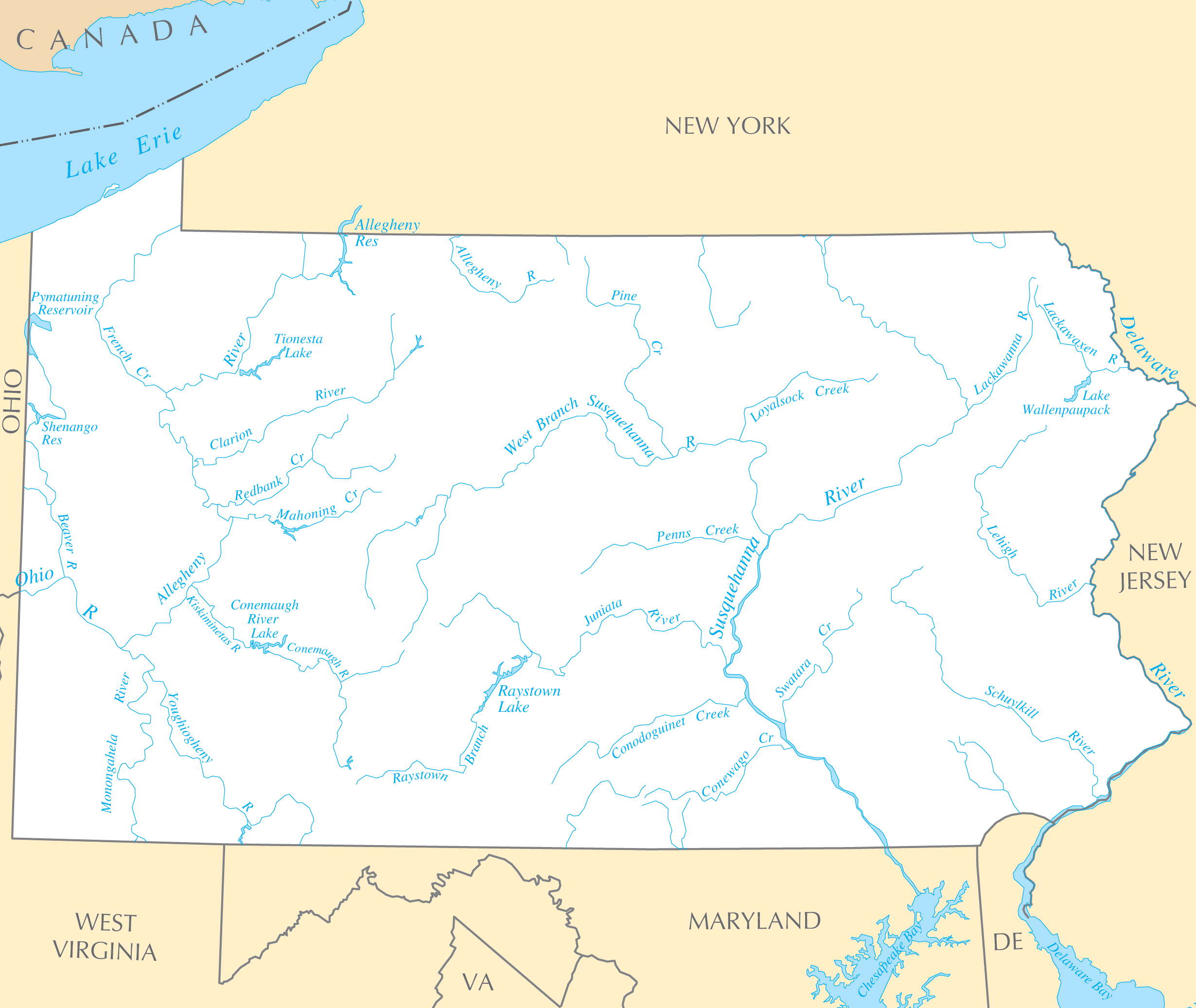 Map Of Pennsylvania Rivers Missouri Map - Us map lakes and rivers