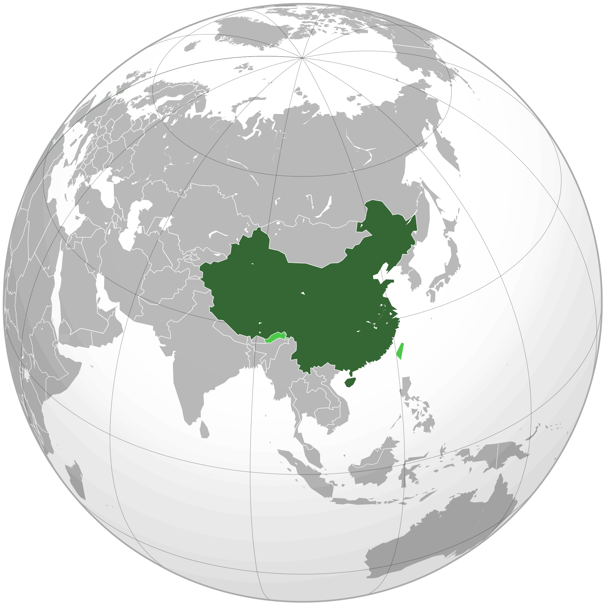 People's Republic of China Orthographic Projection large map