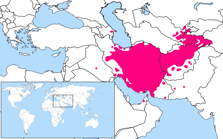 Persian Language Location Map large map