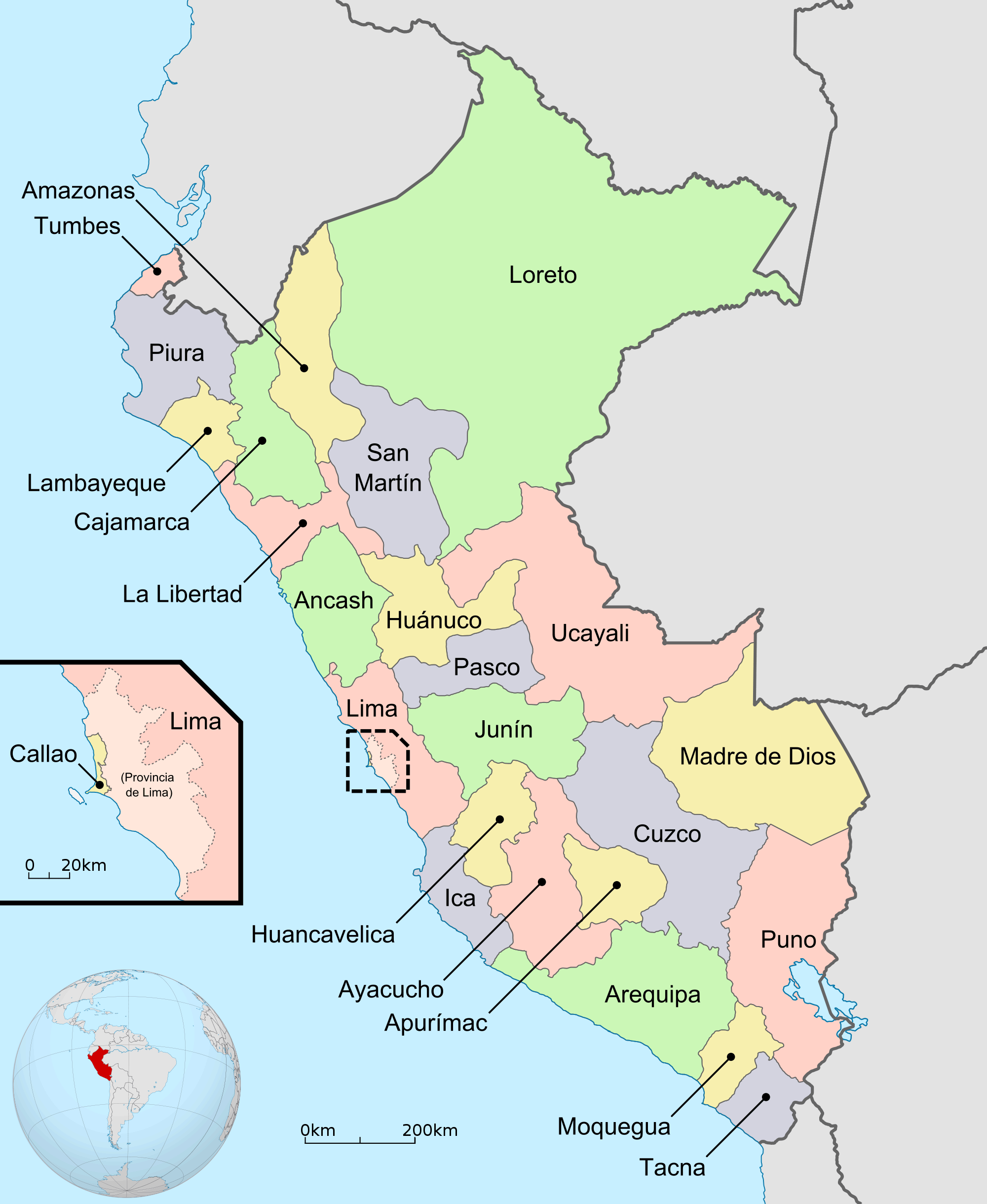 Peru Regions And Departments large map