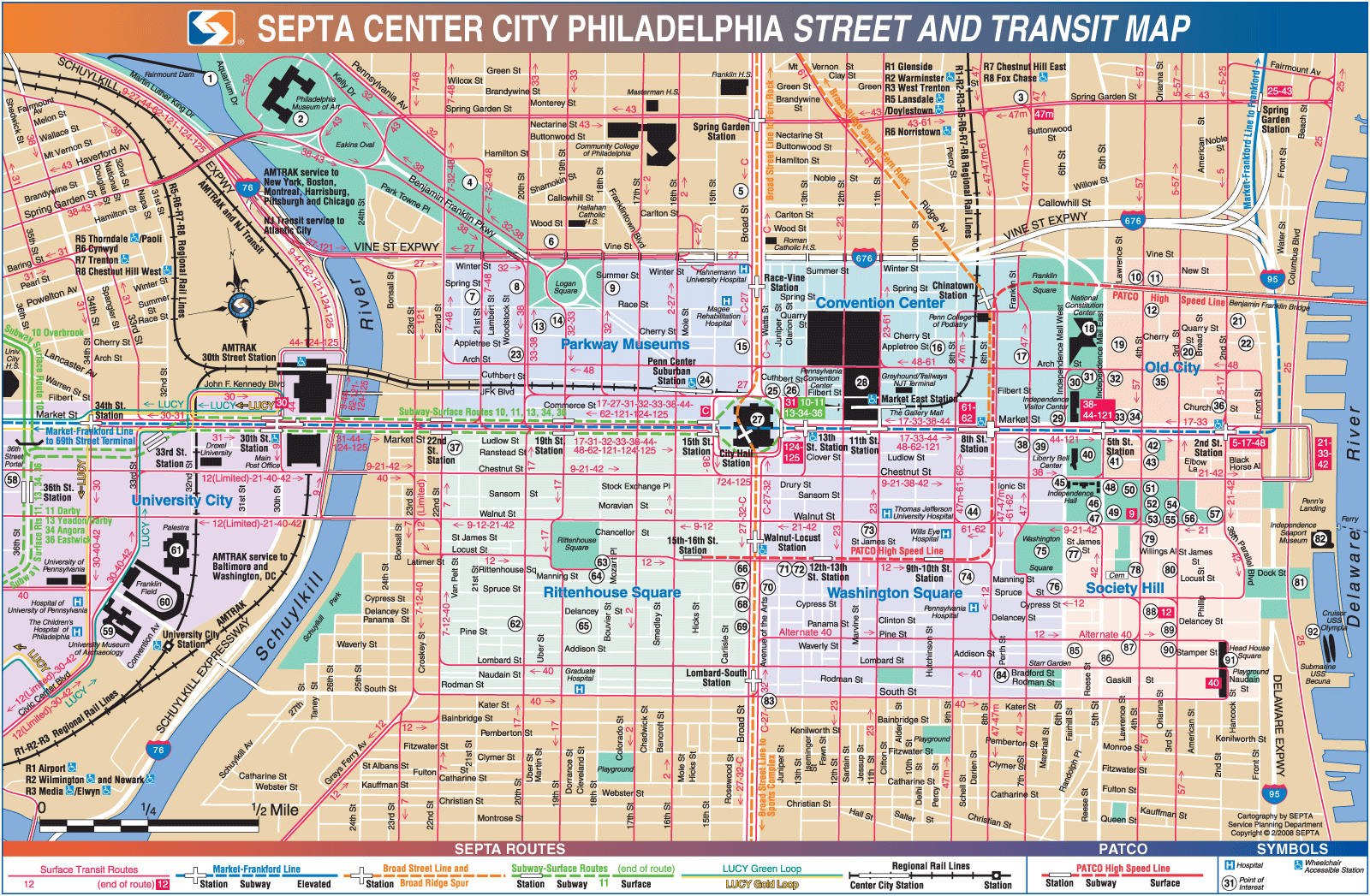 Philadelphia downtown transport map mapsof click on the philadelphia downtown transport map sciox Image collections