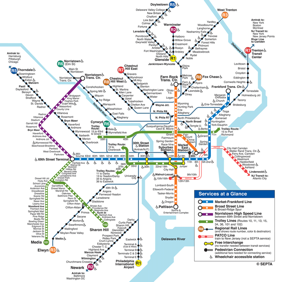 Philadelphia Subway Map (metro) large map