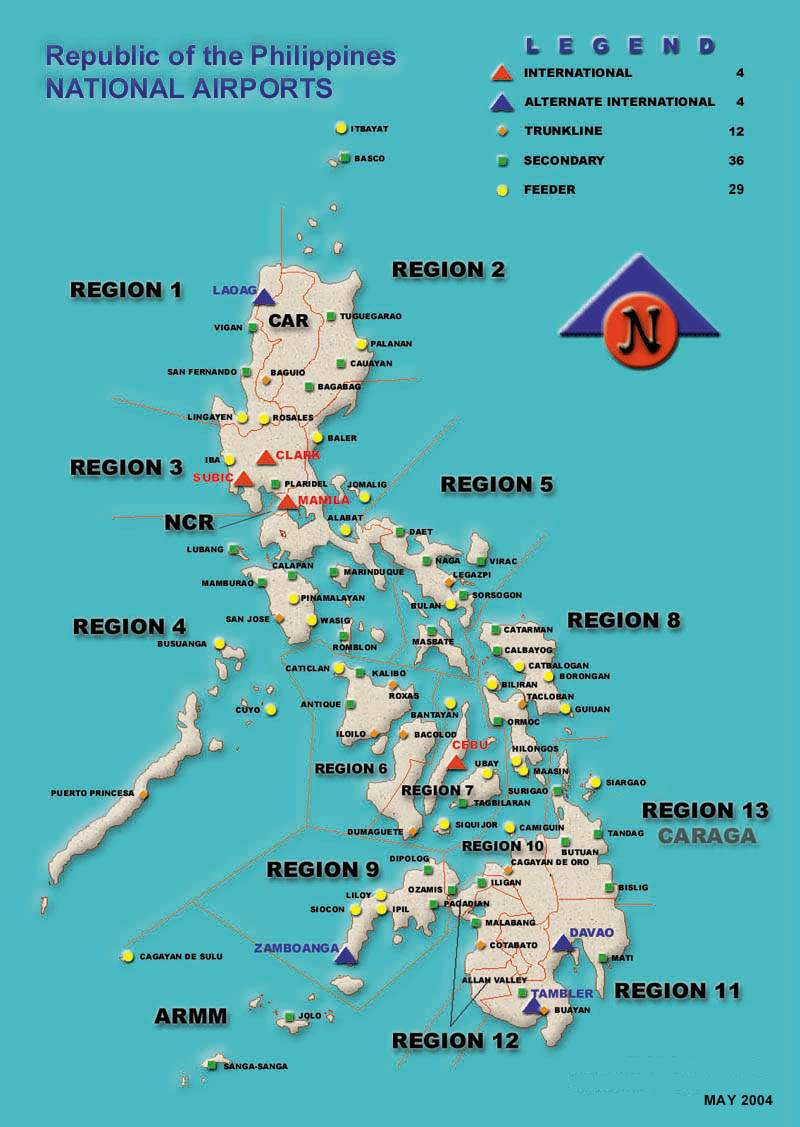 Philippine Airport Map large map
