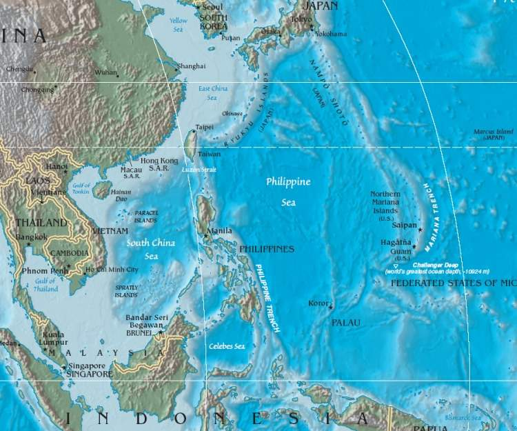 Philippine Sea Location large map