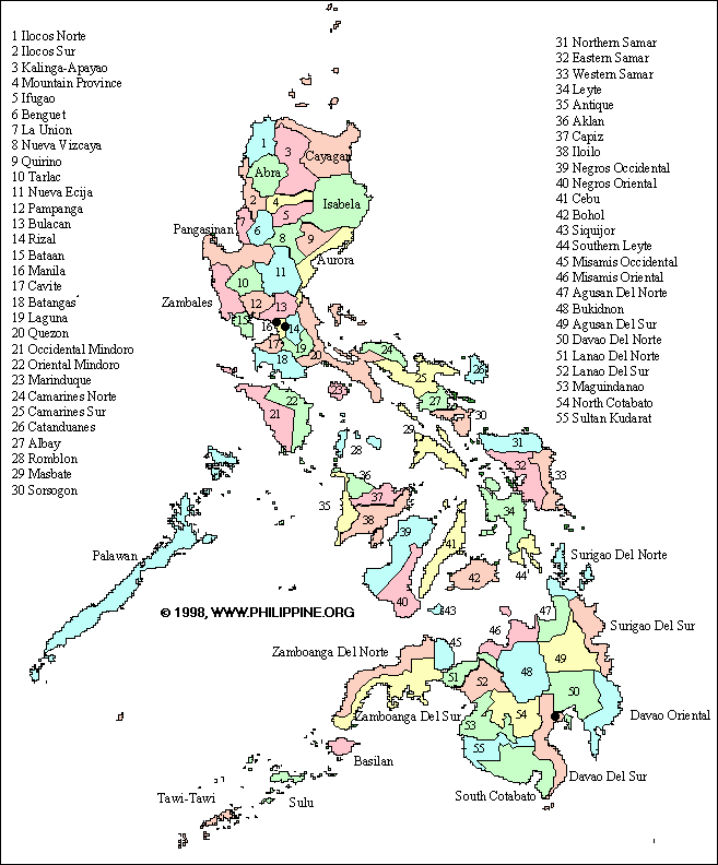 Philippines Districts Map large map