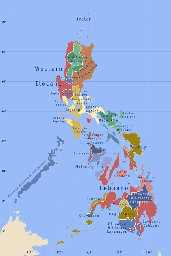 Philippines Languages large map