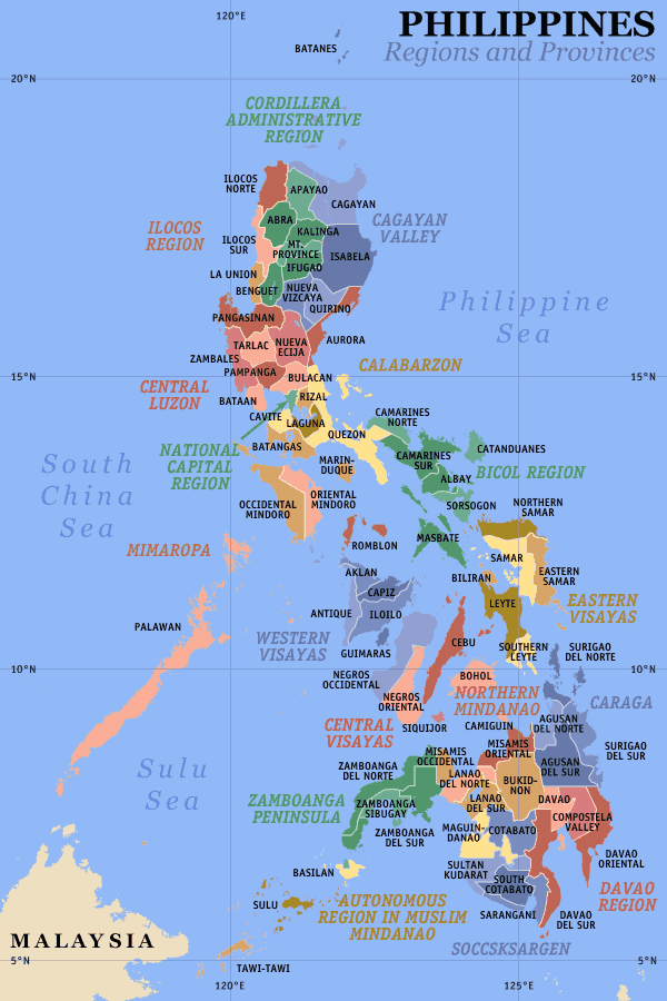 Philippines Regions And Provinces large map