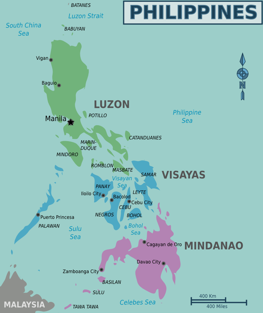Philippines Regions Map large map