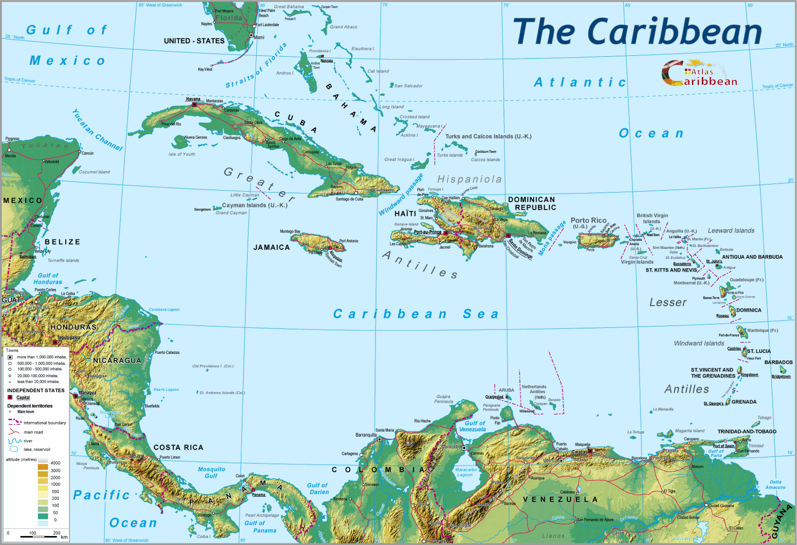 Physical Map of the Carribbean large map