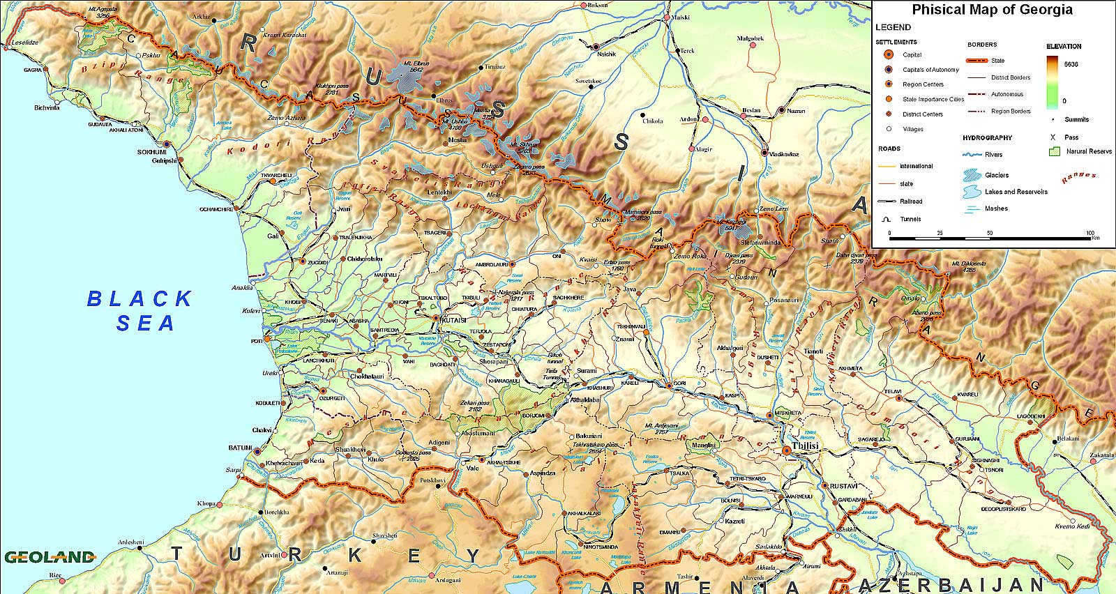 Physical Map Of Georgia Mapsofnet - Georgia physical map