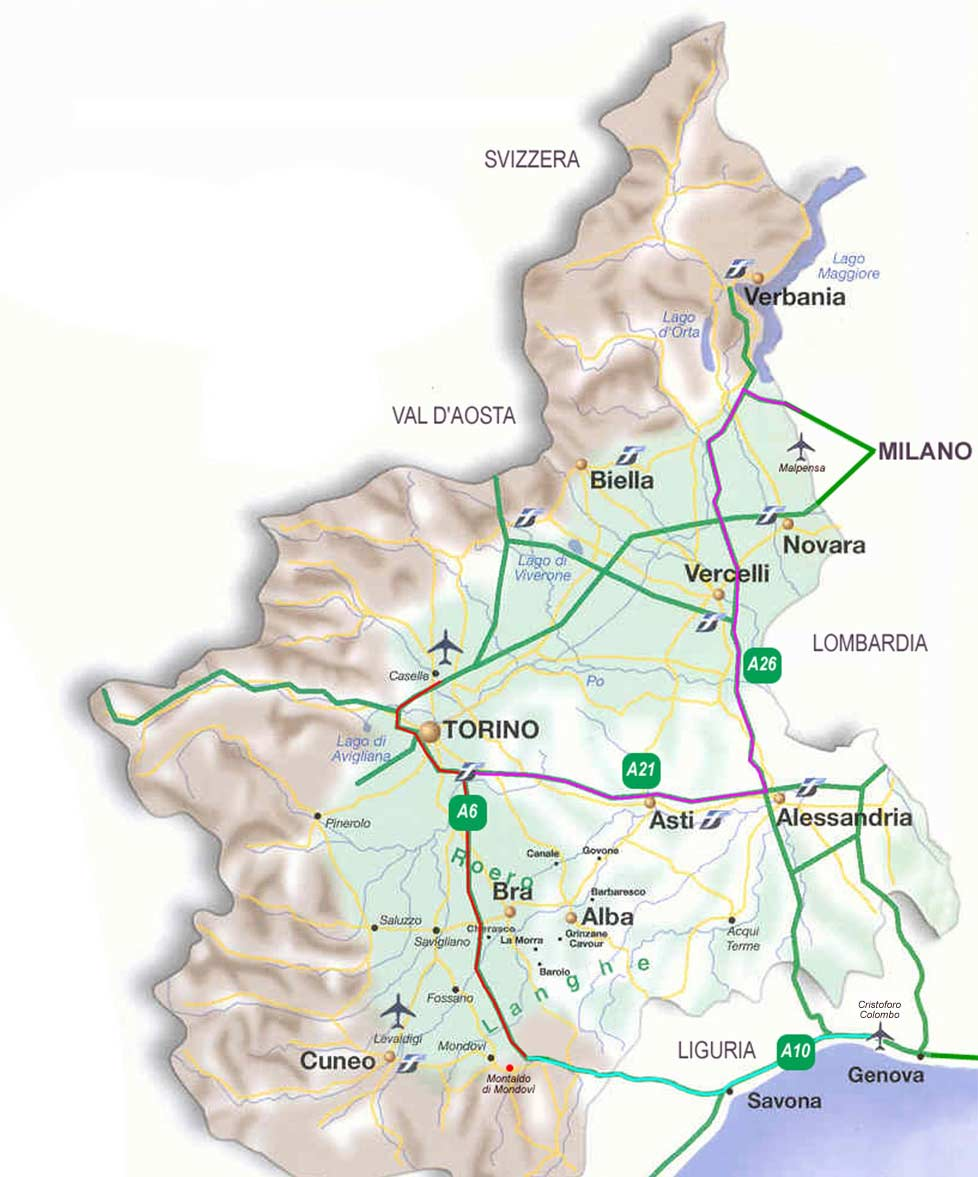 Piedmont Transport Map large map