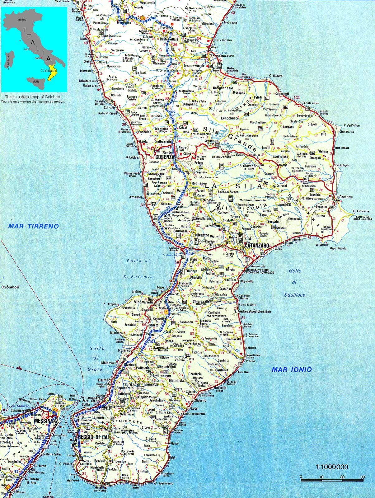 Political Map of Calabria large map