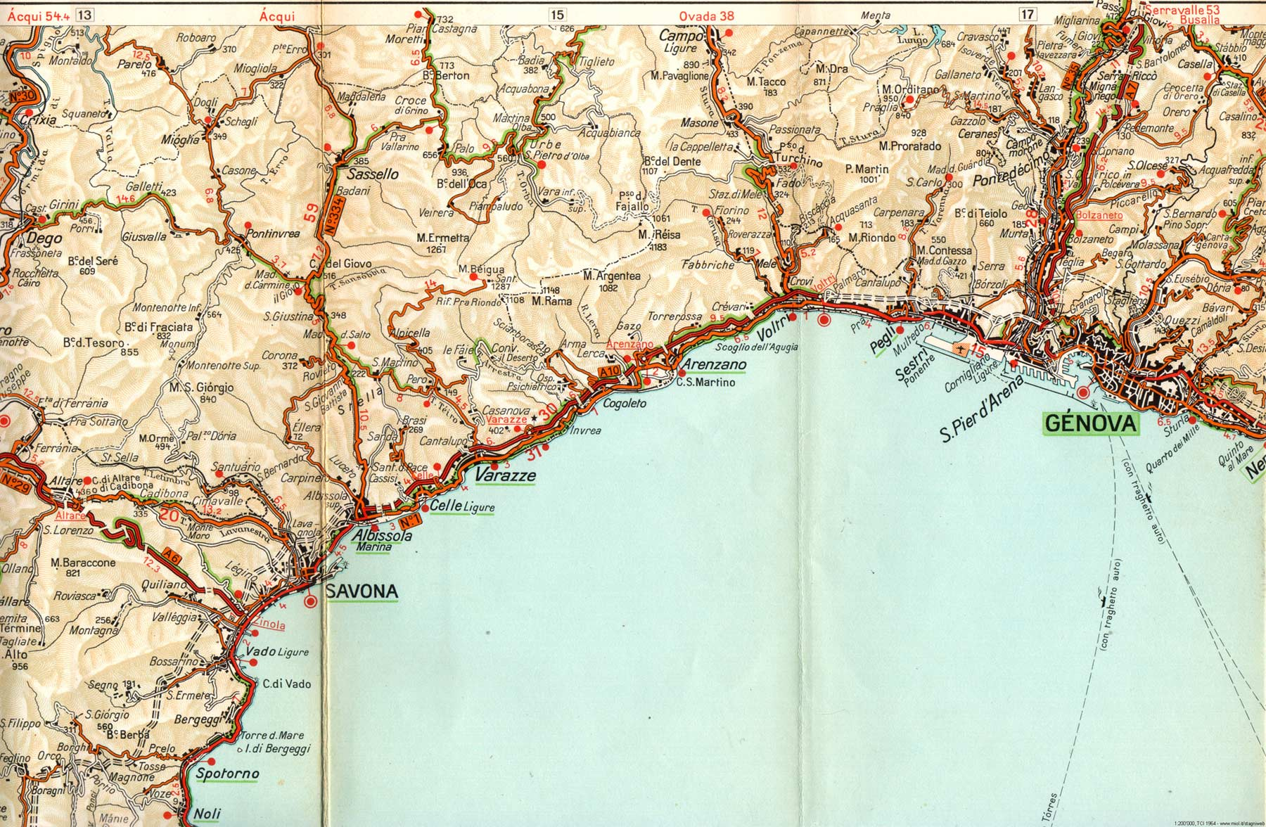 Political Map Of Liguria 1964 Mapsof Net