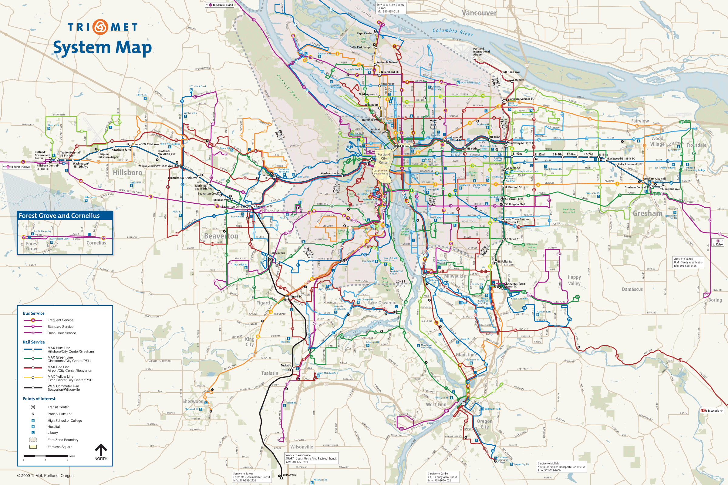 Portland Transport Map Mapsofnet