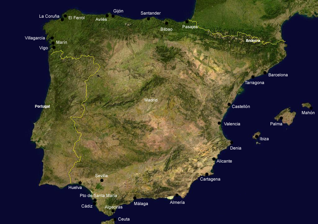 Ports Spain Satellite Map large map