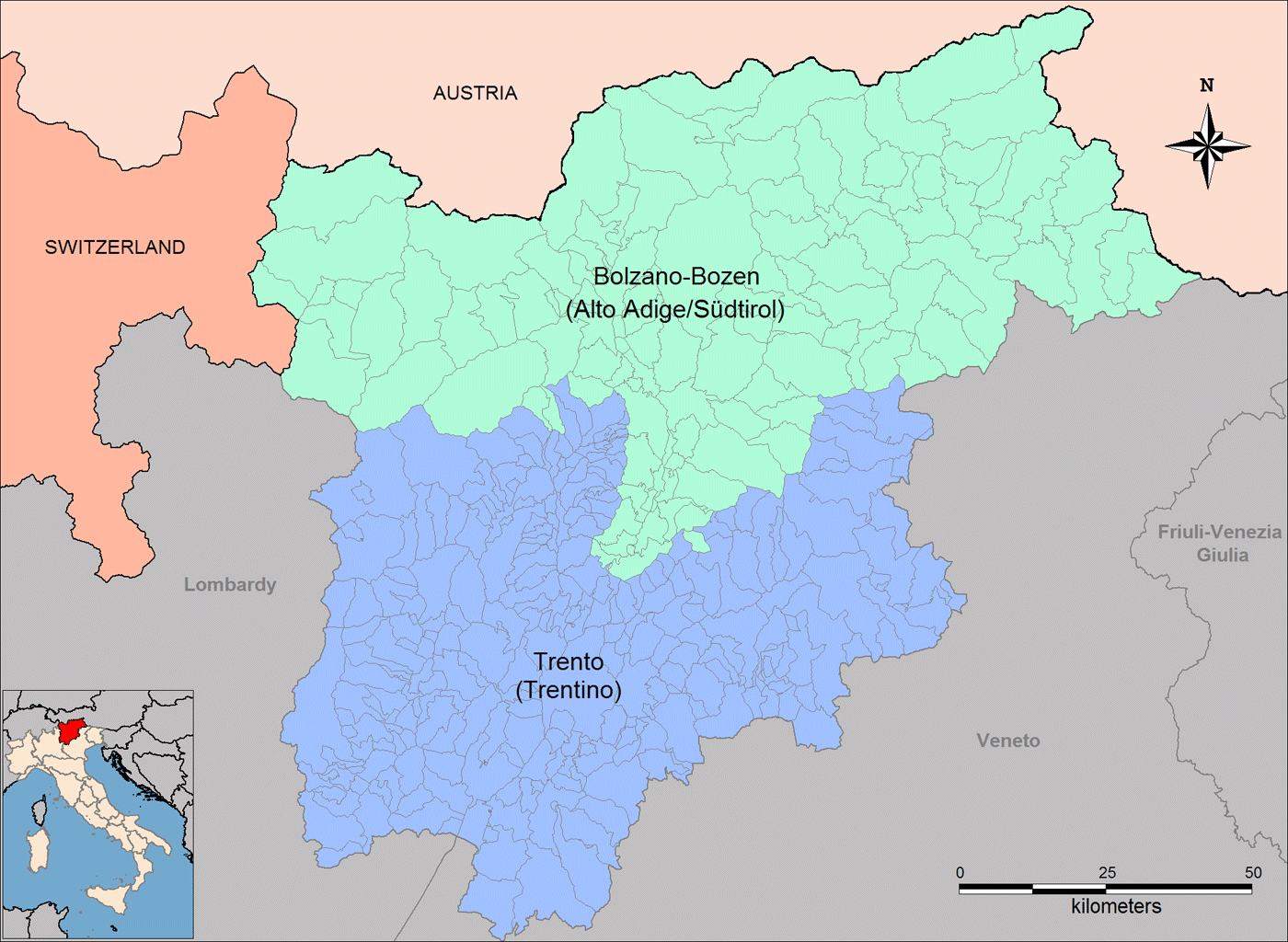 Provinces Map of Trentino Alto Adige Mapsofnet