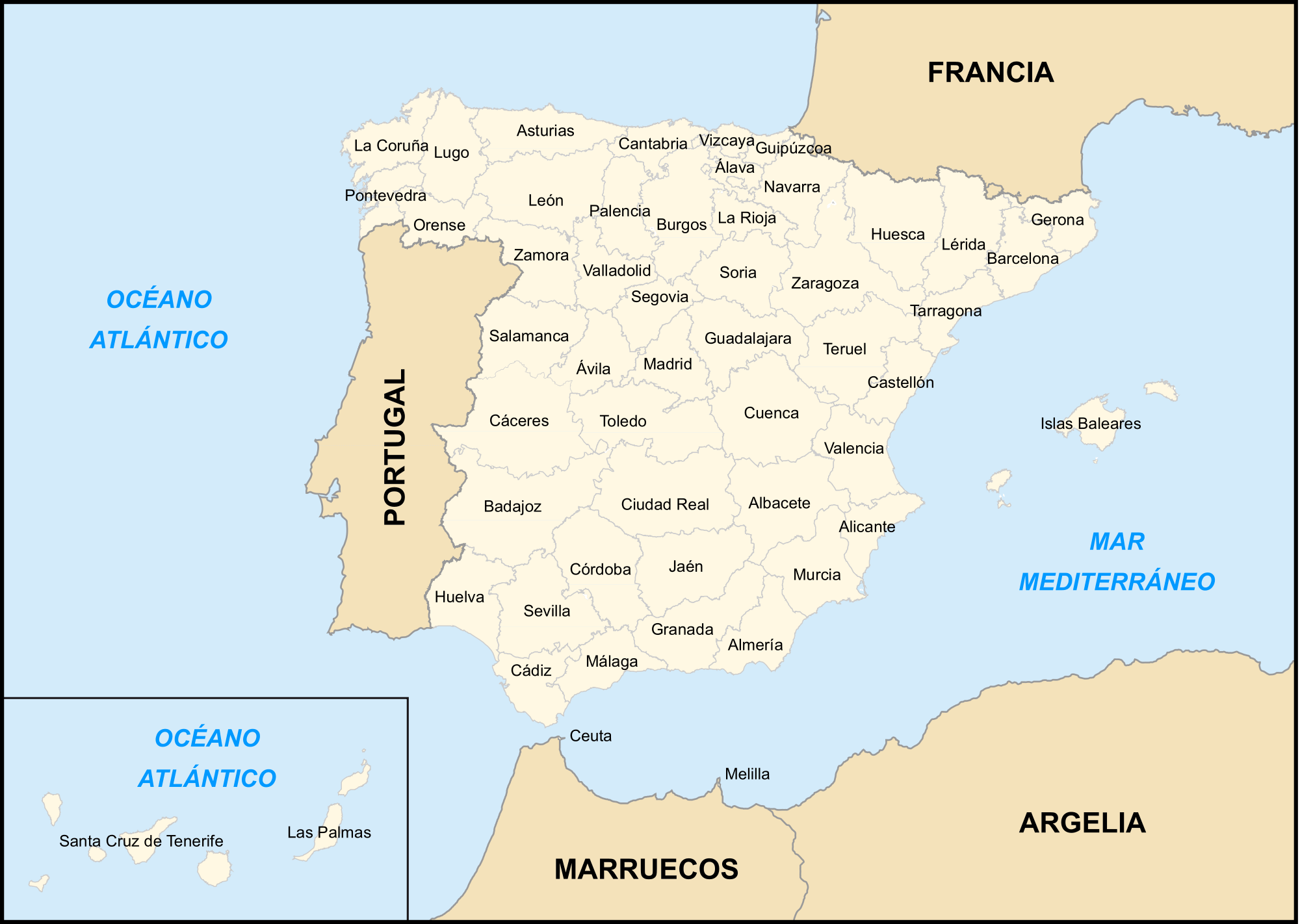 Provincias De Espana large map