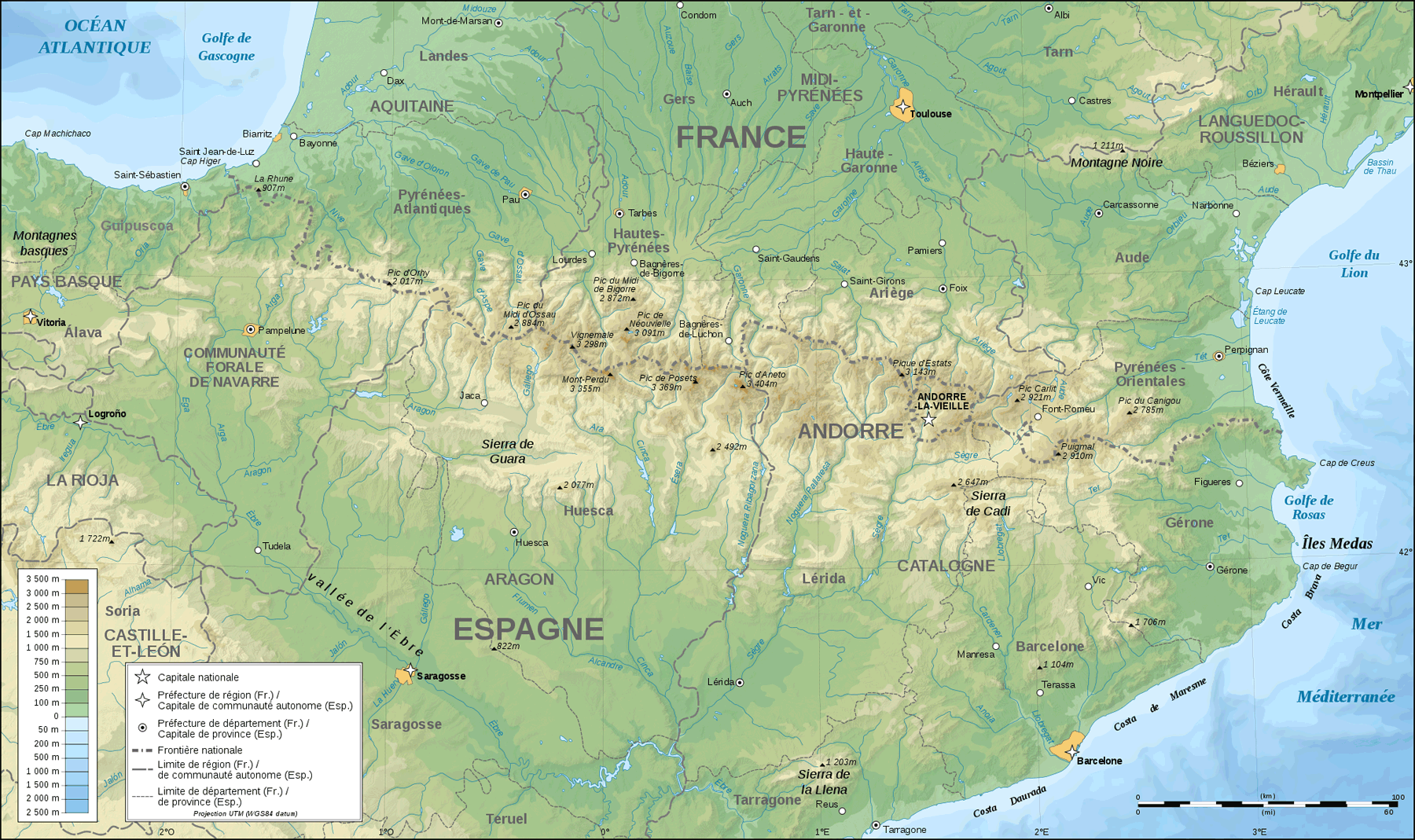 Pyrenees Topographic Map Fr large map