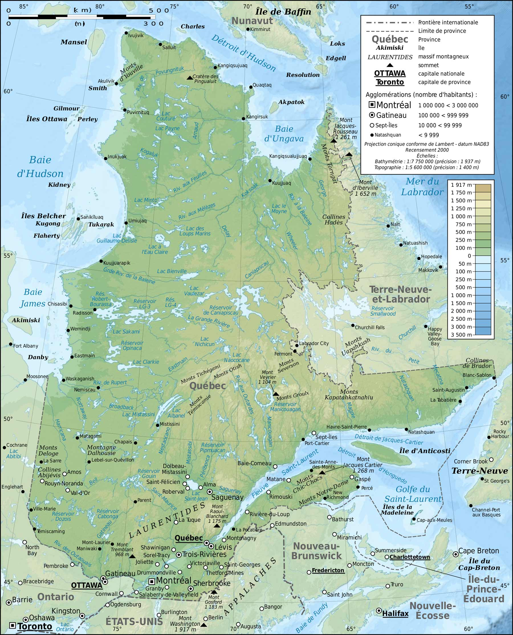 Quebec Province Topographic Map