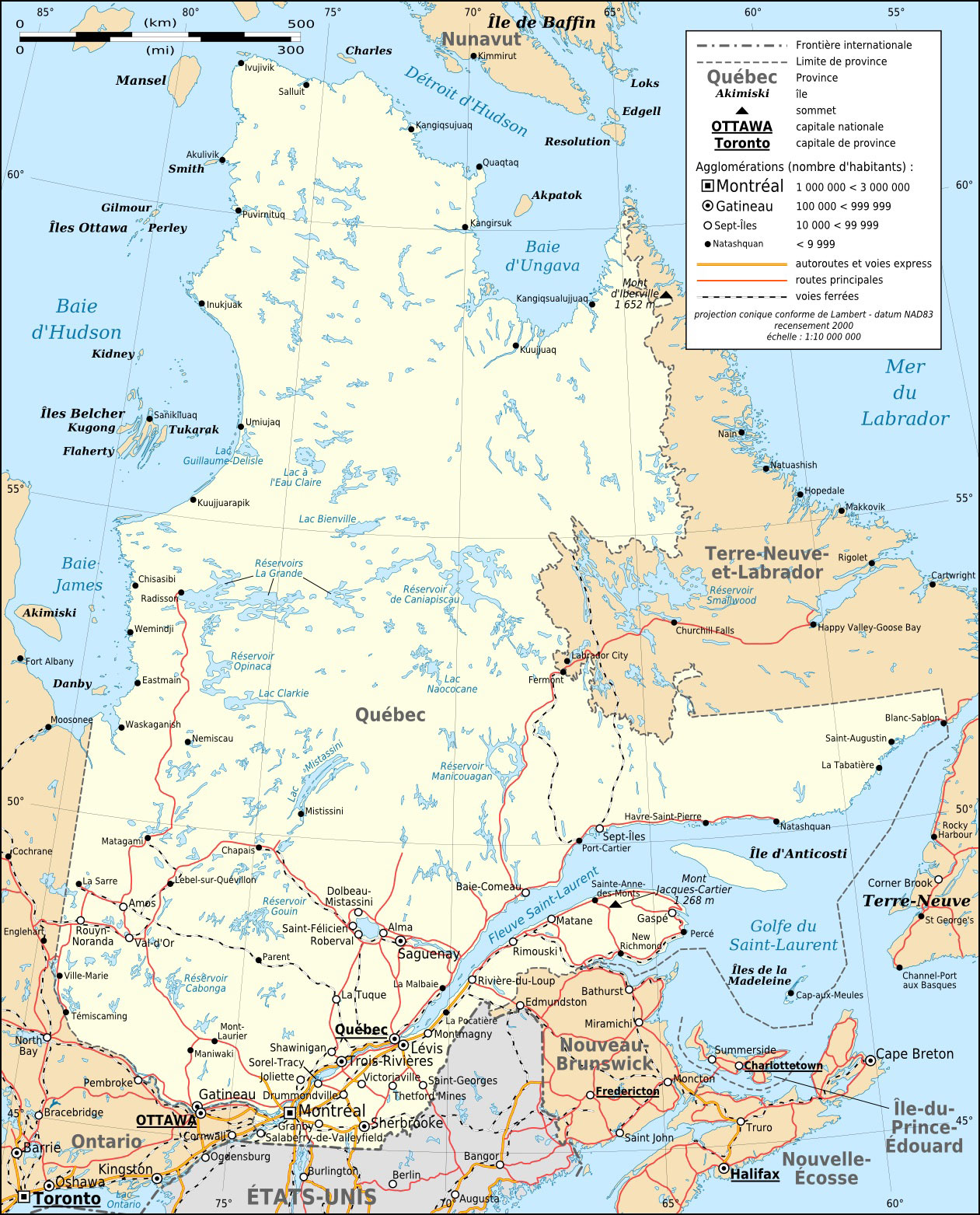 Quebec Province Transportation And Cities Map Fr  Mapsofnet