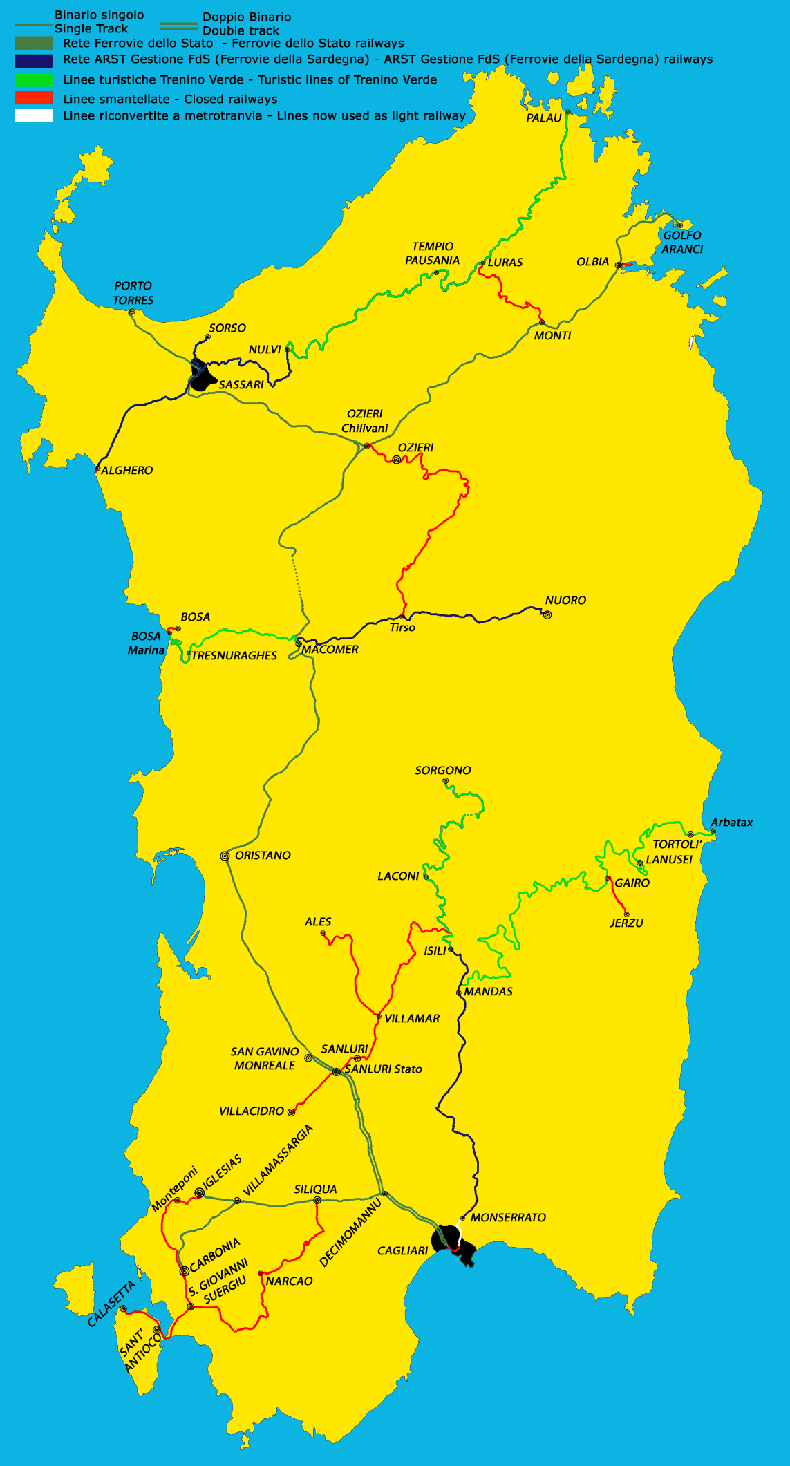 Railways Map of Sardinia Mapsofnet