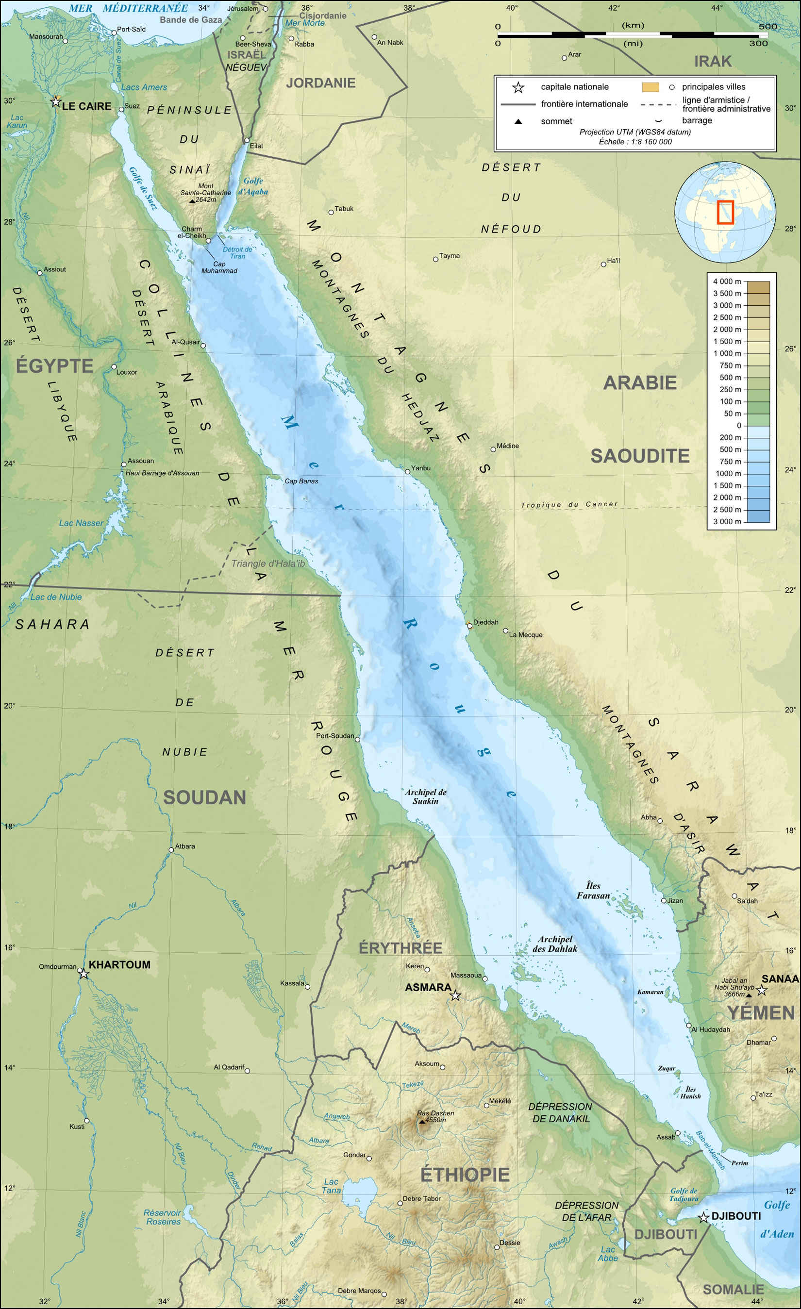 Red Sea Topographic Map Fr large map