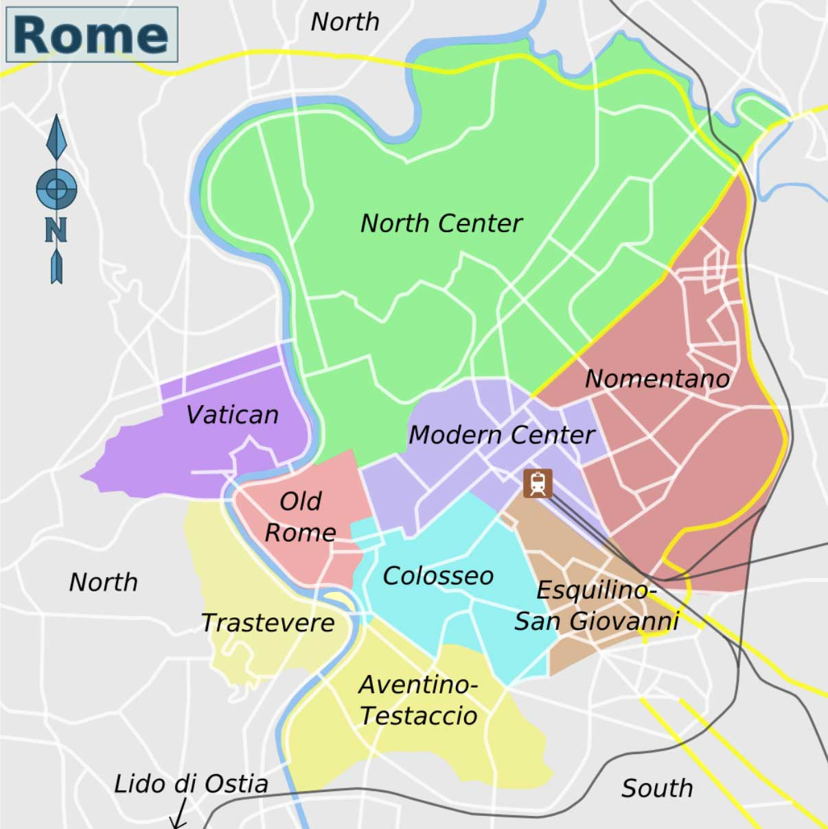 Rome City And Districts Map large map