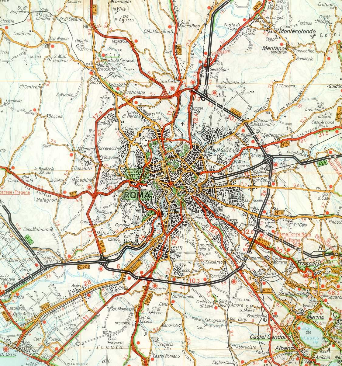Rome City Detailed Map large map