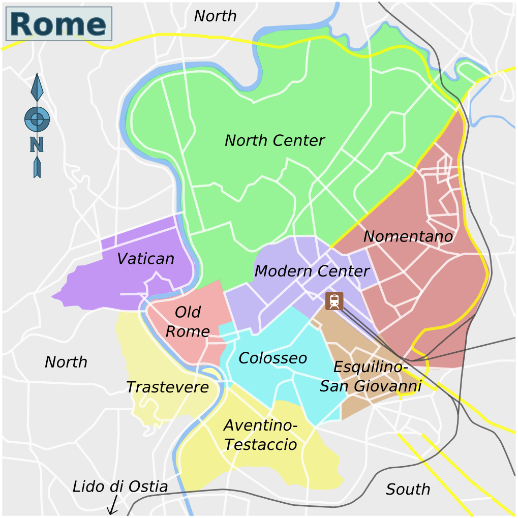 Rome Districts Map large map