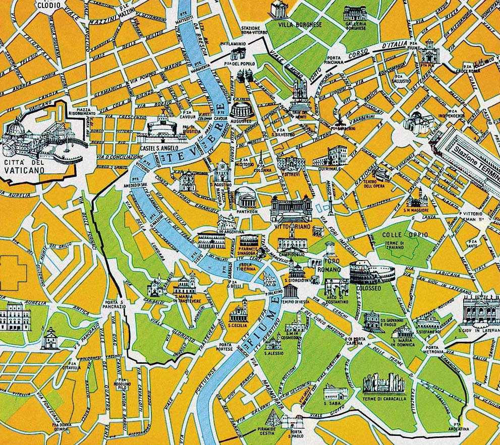 Rome Touristic City Map large map