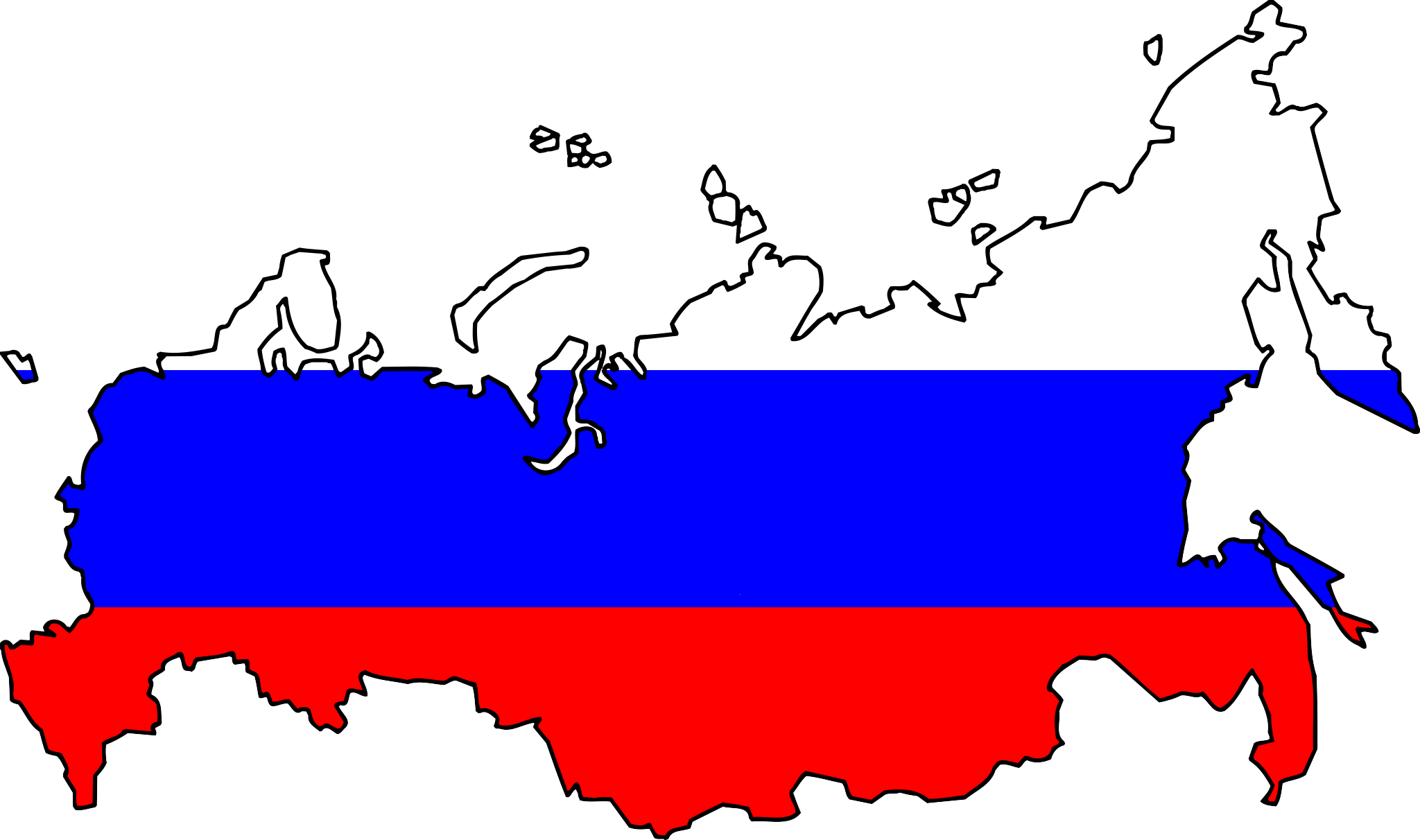 Russia Flag Map large map