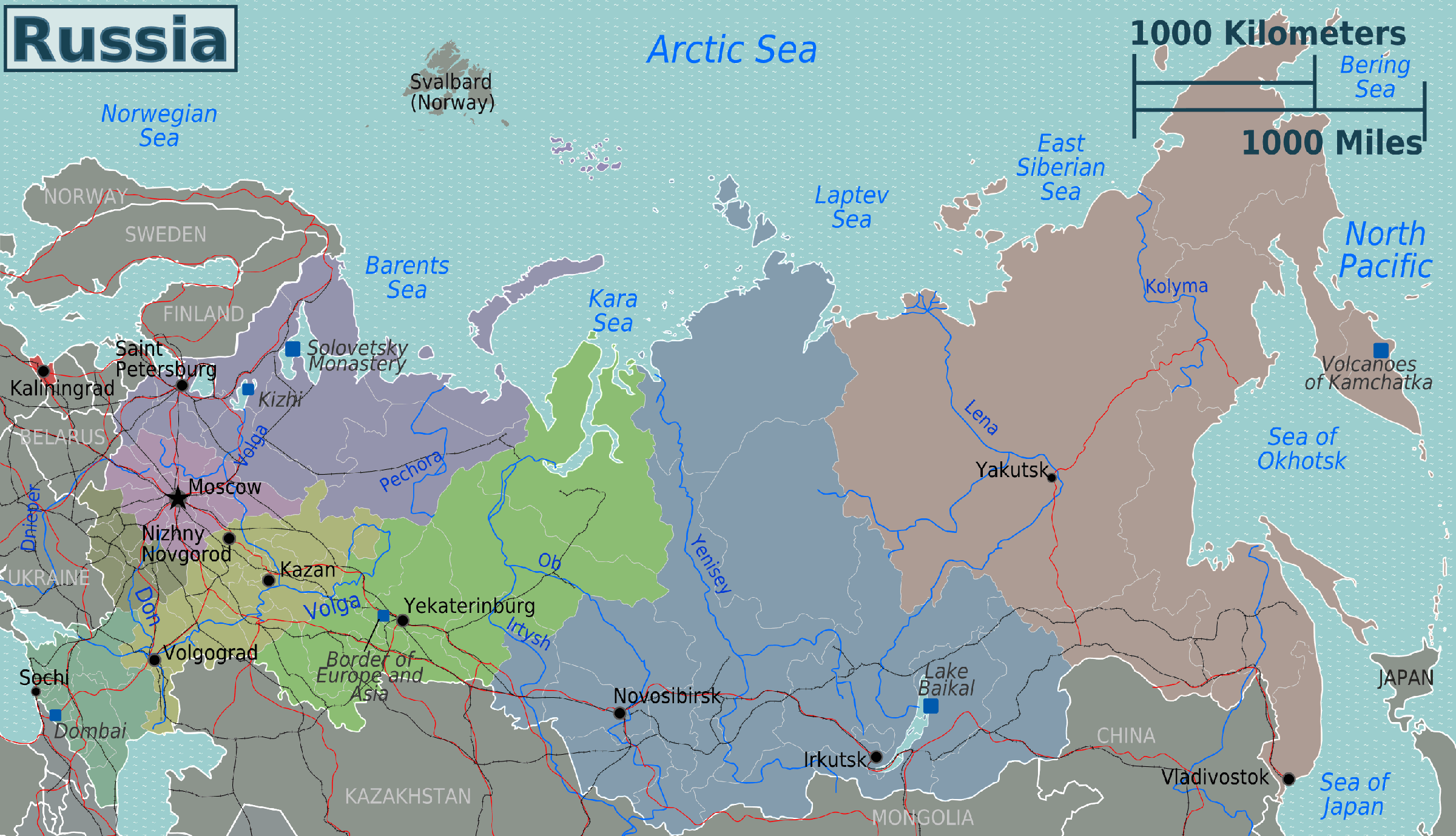 Russia Regions Map large map