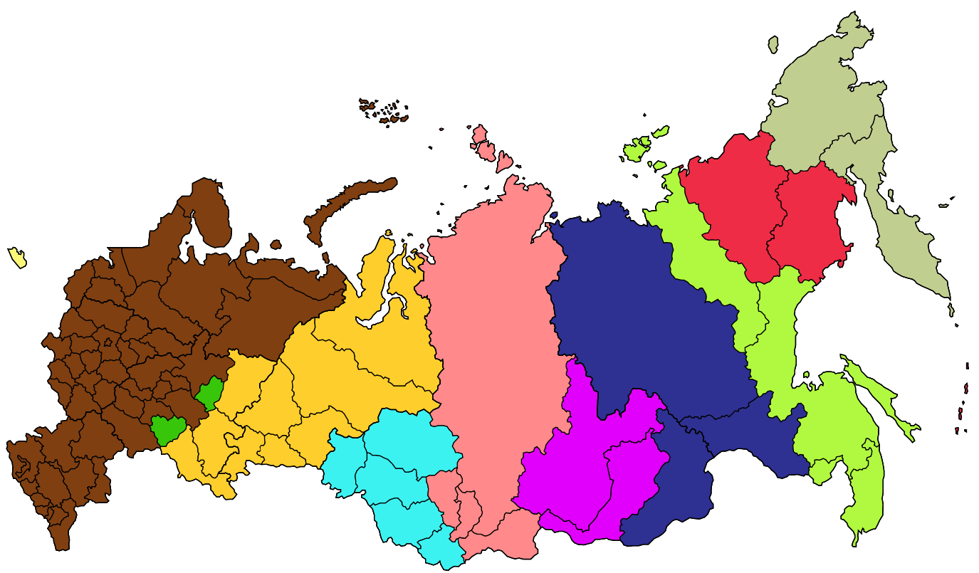 Russia Time Zone Map large map