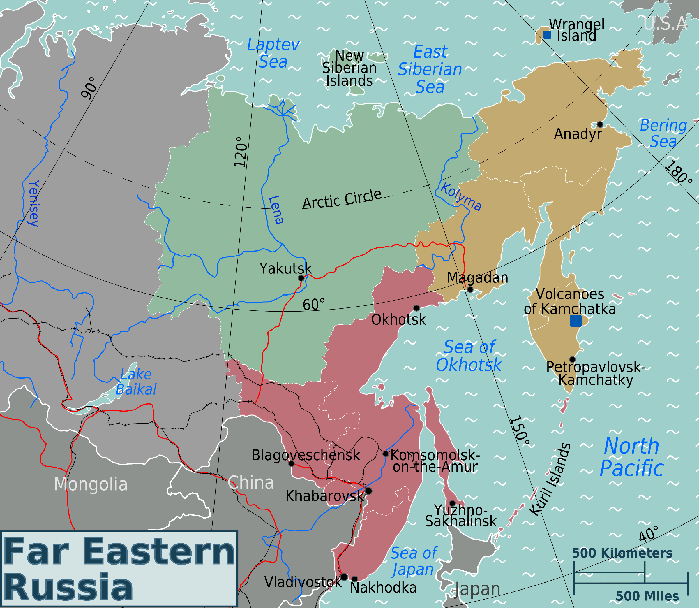 Russian Far East Regions Map large map