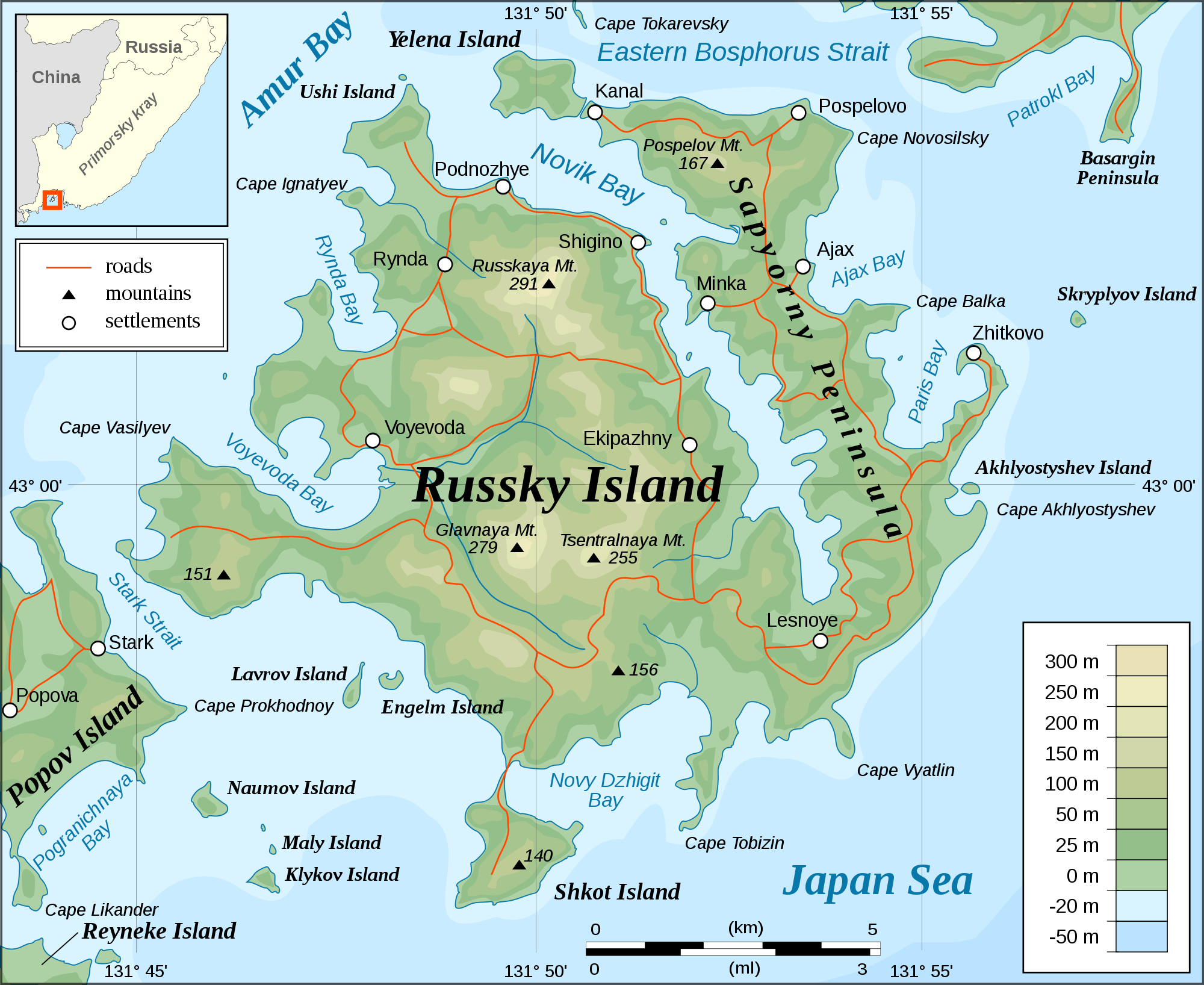 Russky Island Topographic Map large map